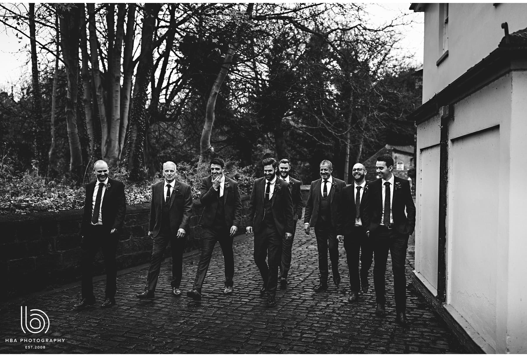 the groom and his men outisde