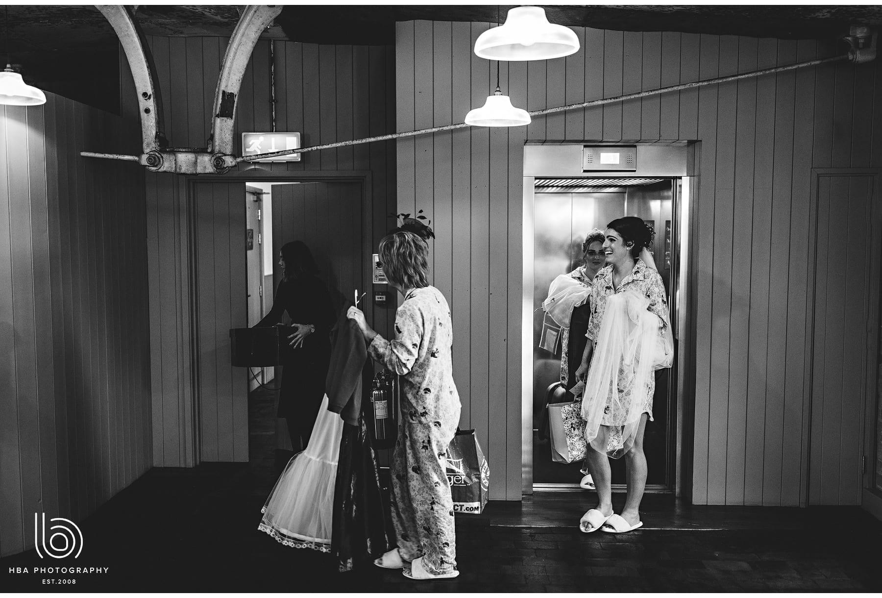 the bride arriving on the top floor
