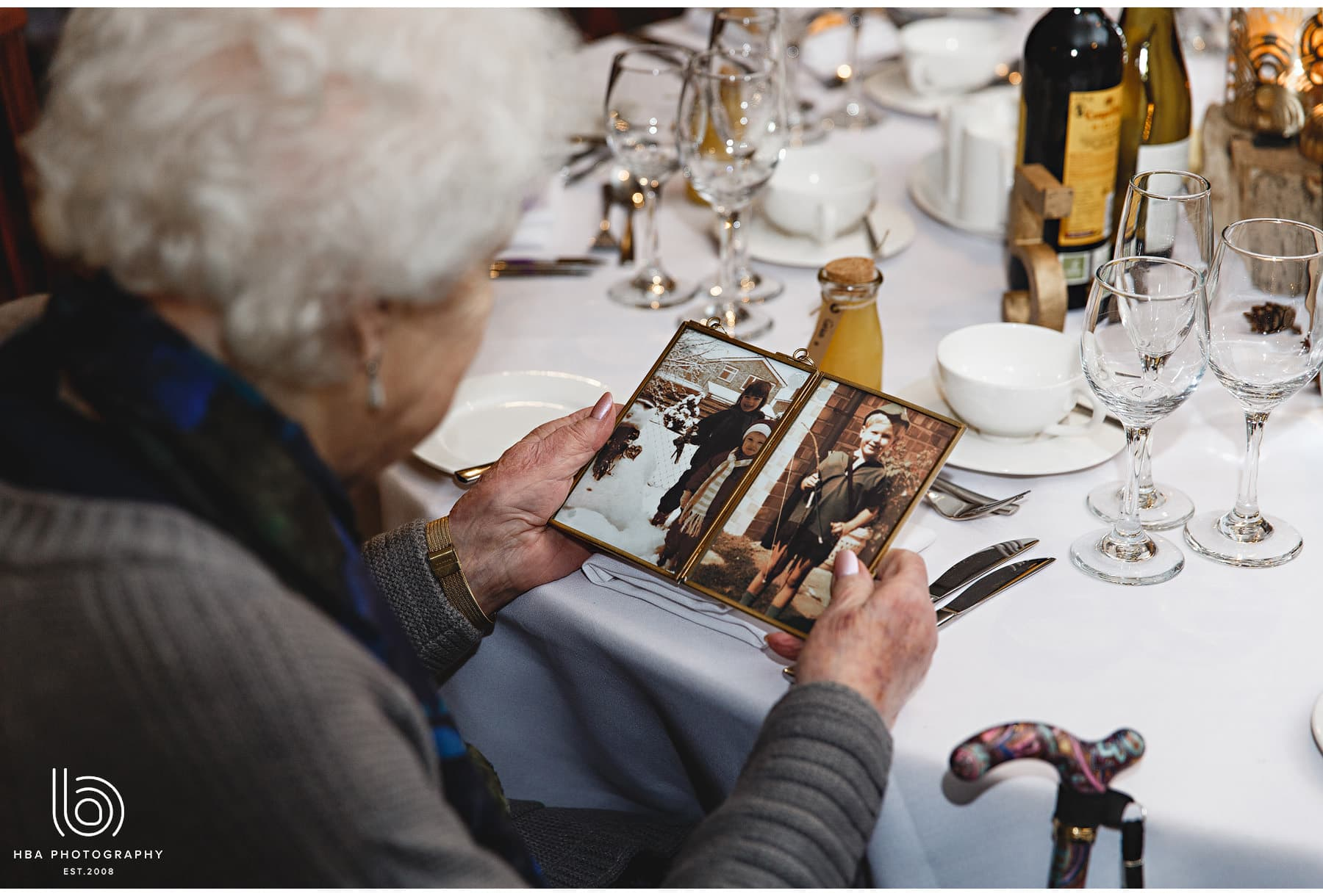 grandma looking at the table details