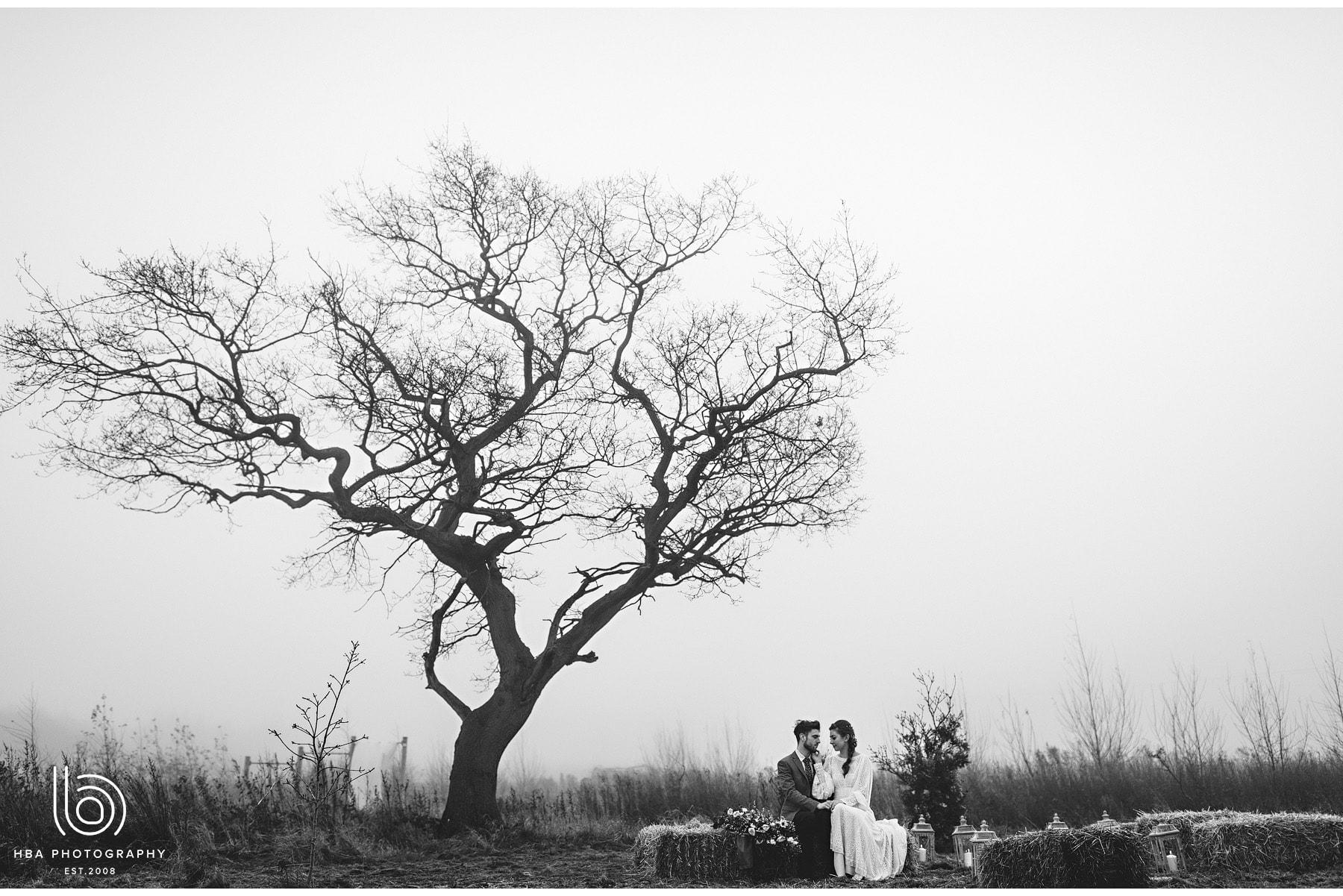 bride adn groom with the old oak tree