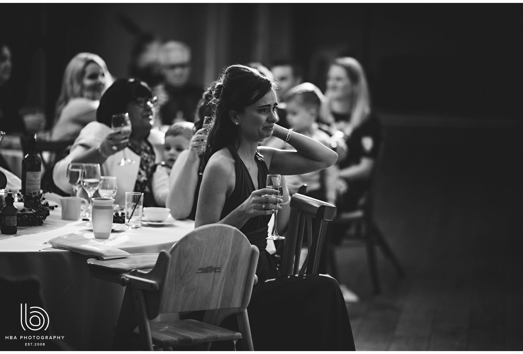 bridesmaid watching the speech