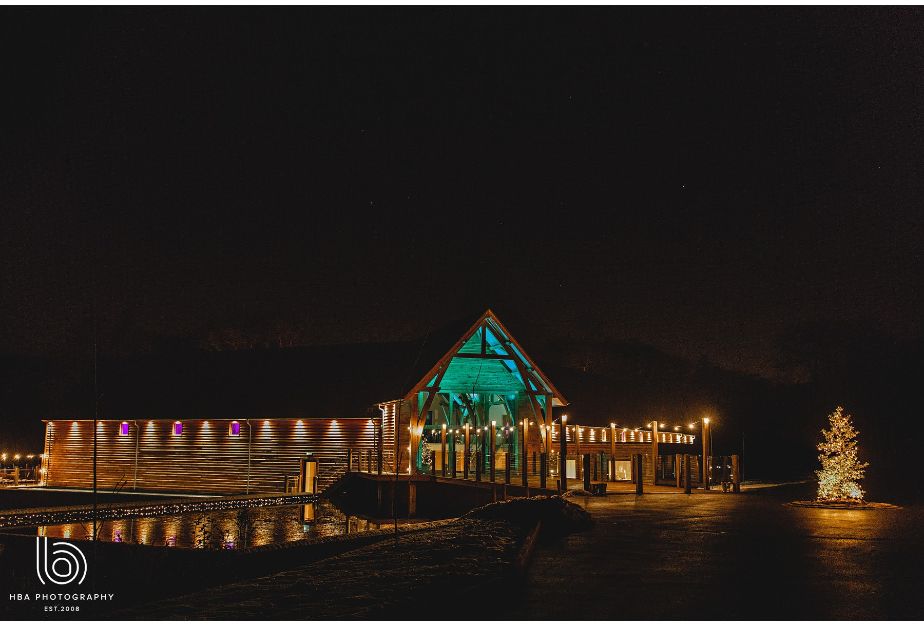 The Mills Barns at night