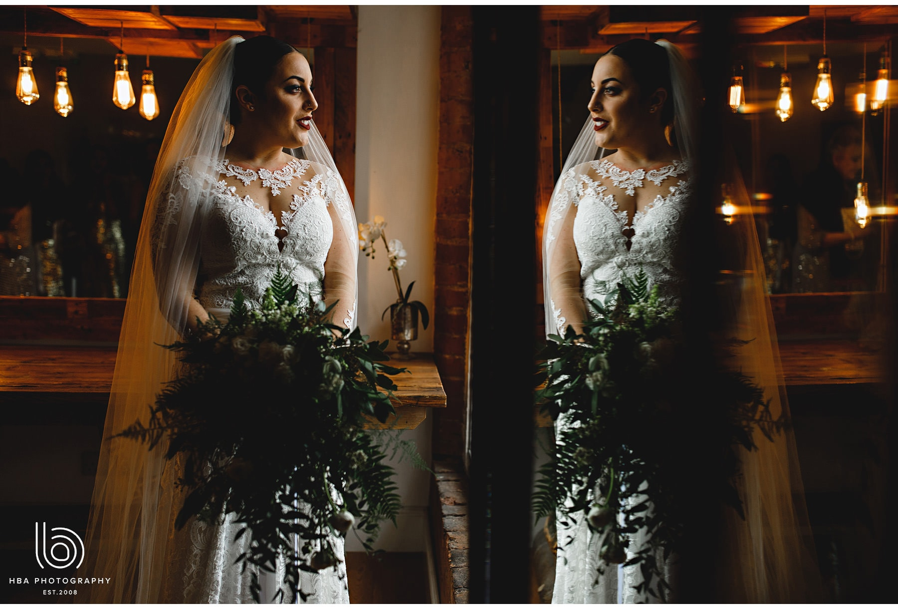 the bride and her reflection