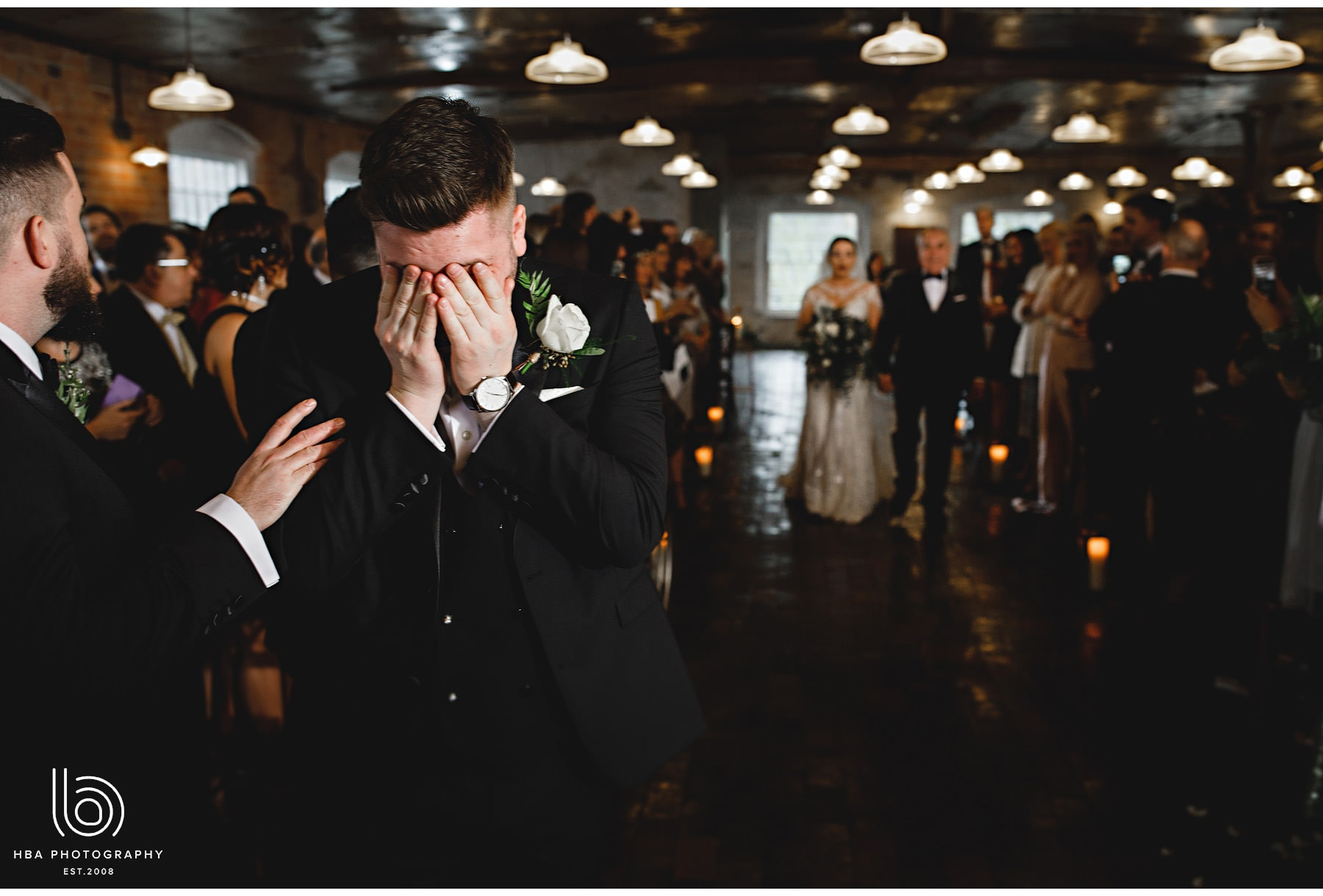 the groom in tears as he sees his bride for the first time