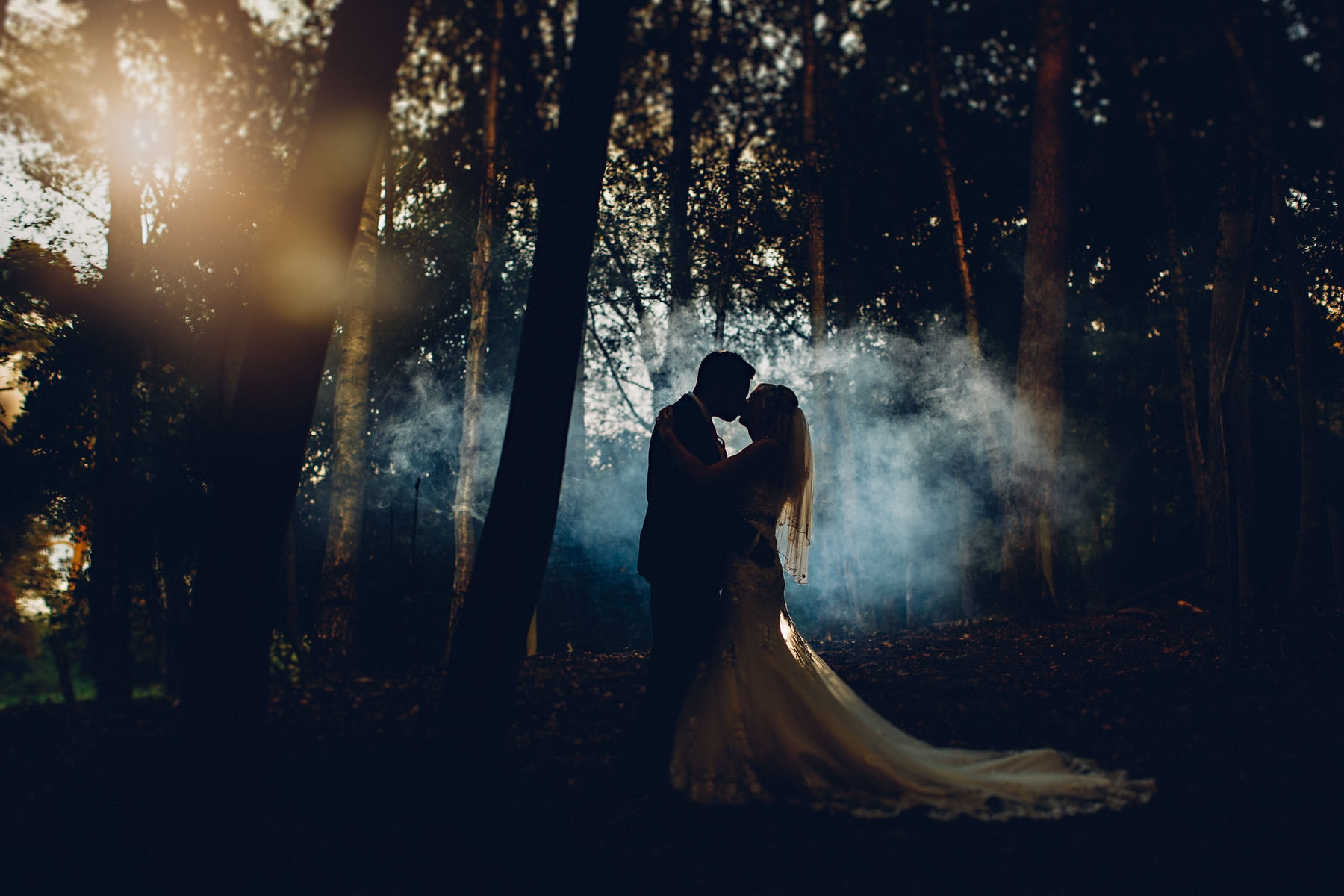 smoke in the woods at Osmaston Park in Derbyshire