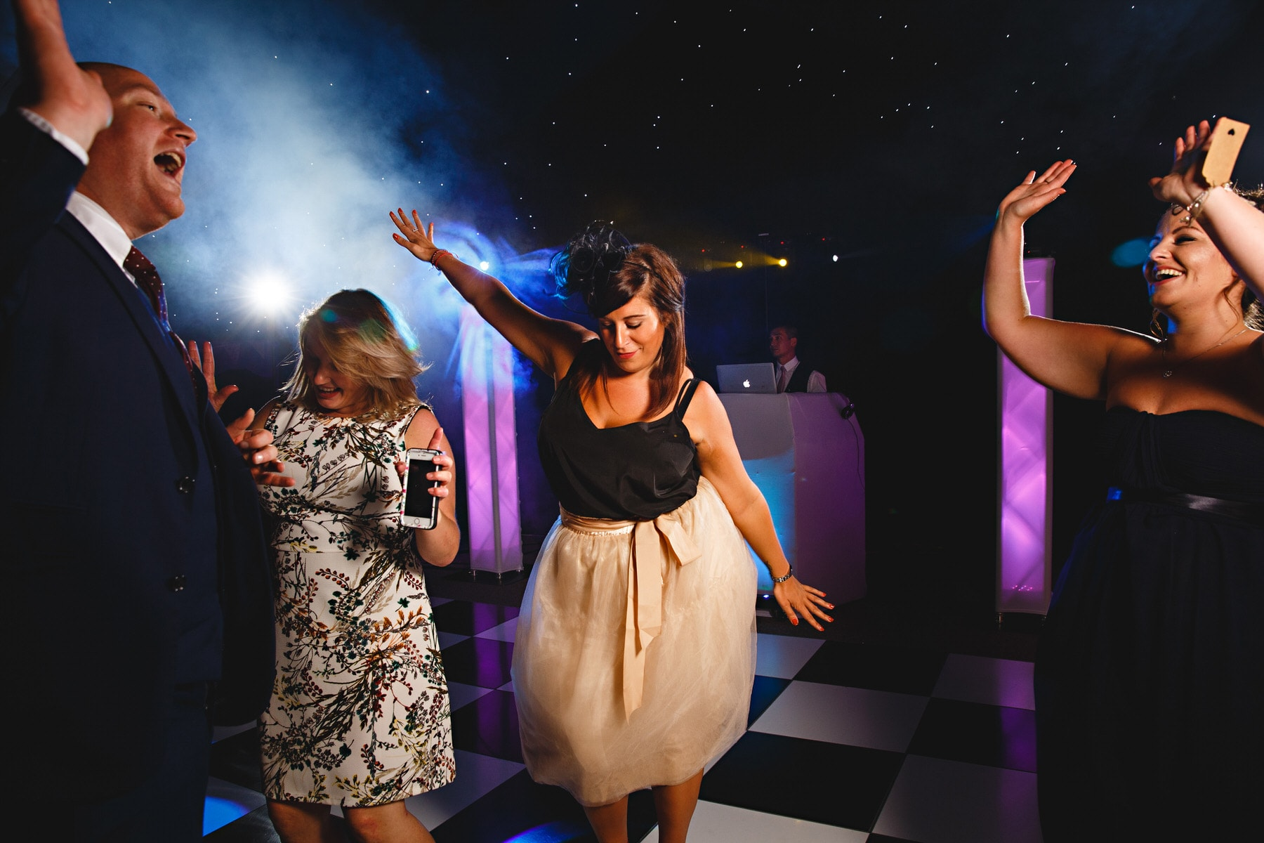 wedding guests dancing Osmaston Park in Derbyshire