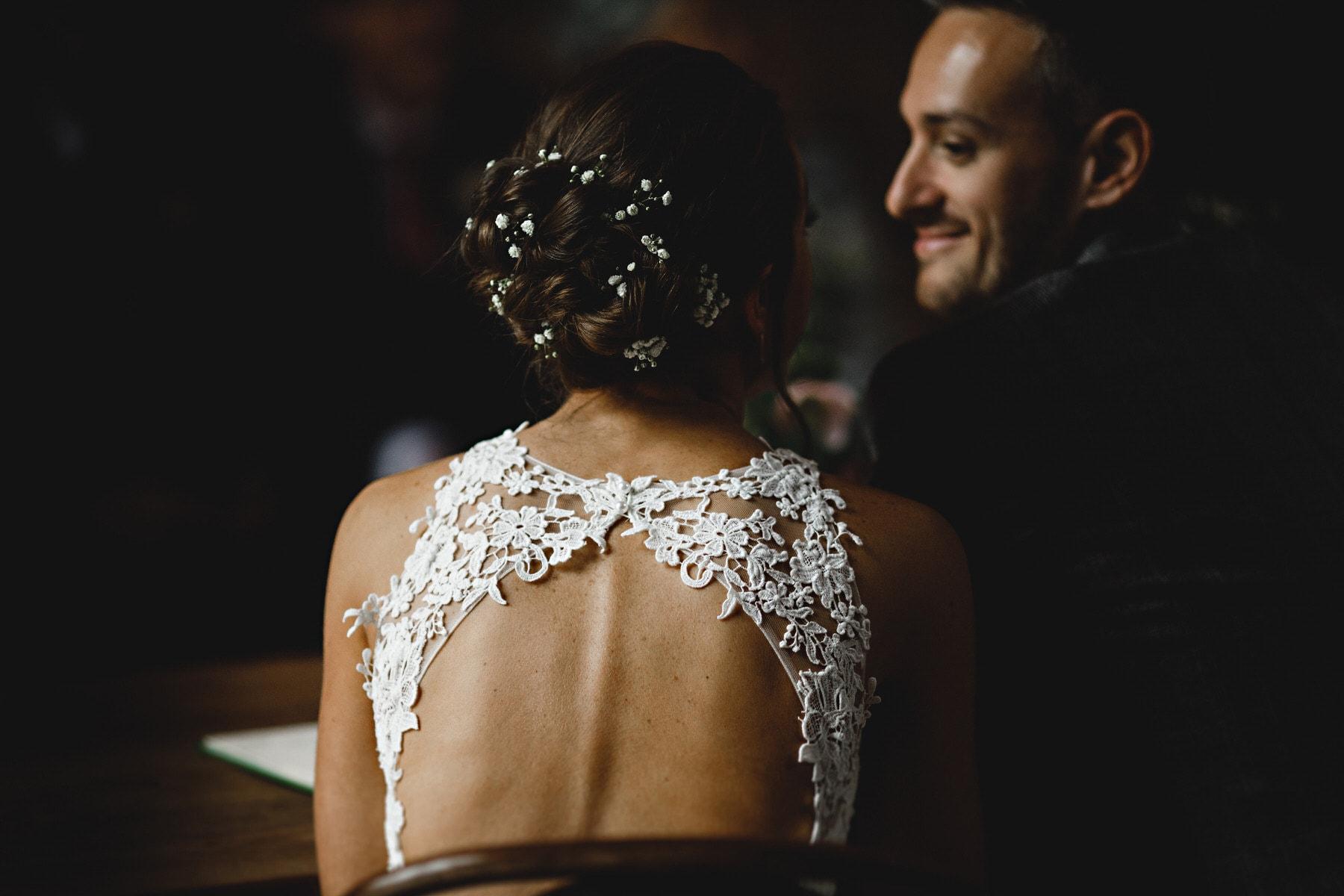 details of the brides dress