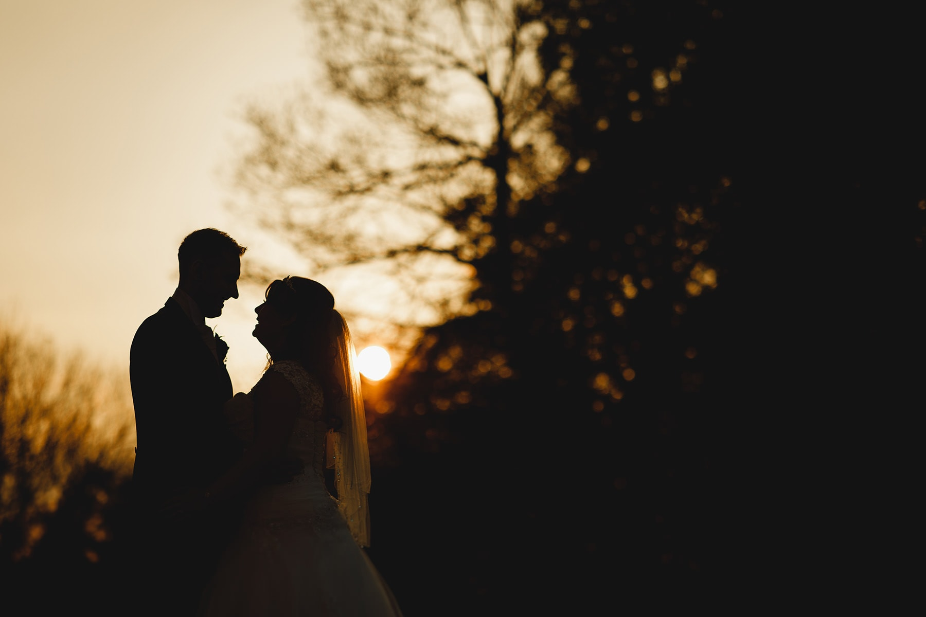 golden hour sunset at Hampton Manor wedding