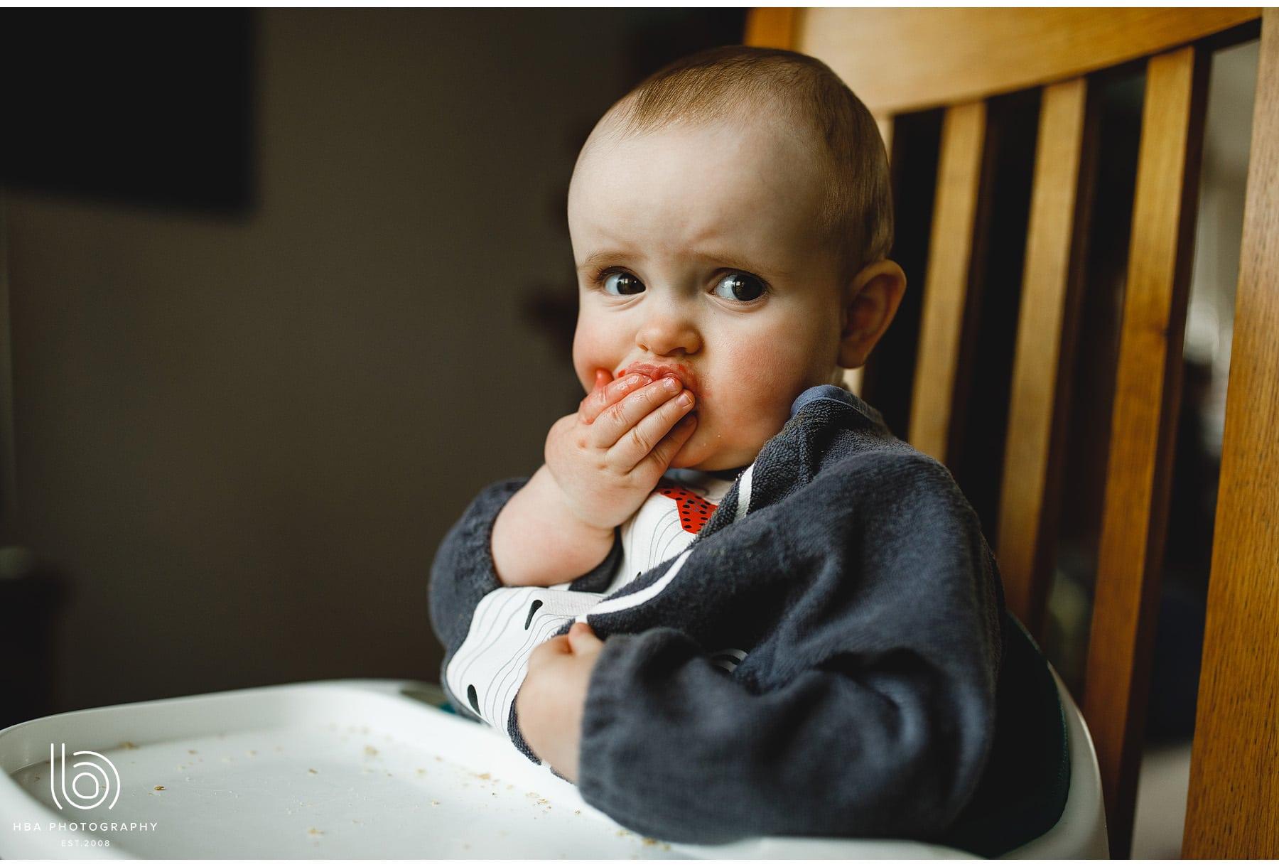 baby having dinner