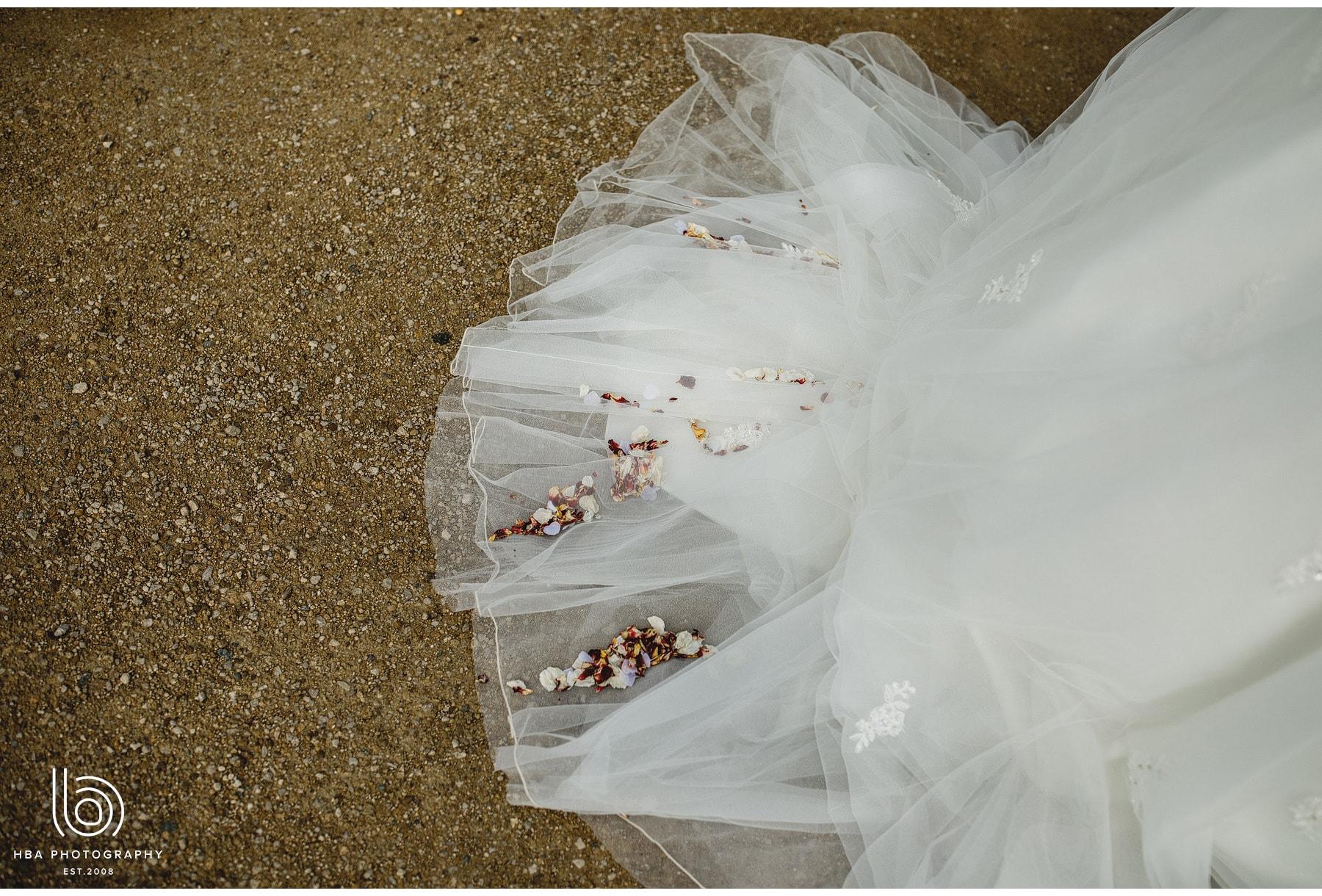confetti on the brides dress