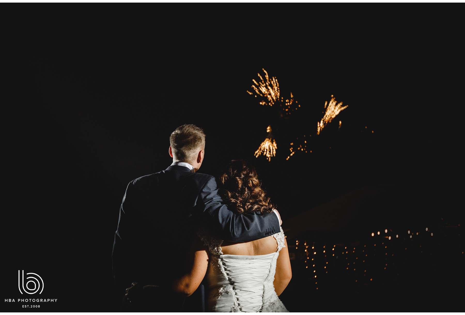 bride and groom and the fireworks
