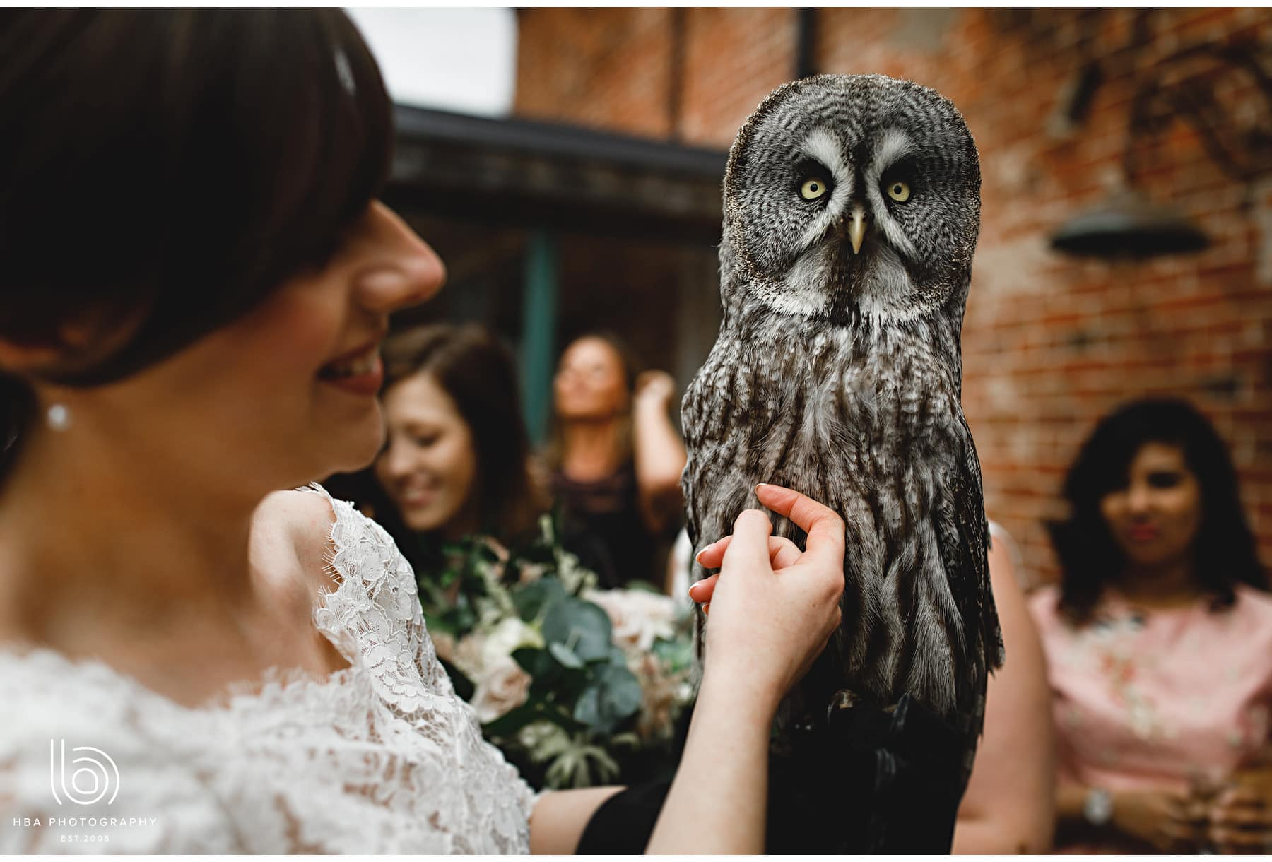 the bride with an owl
