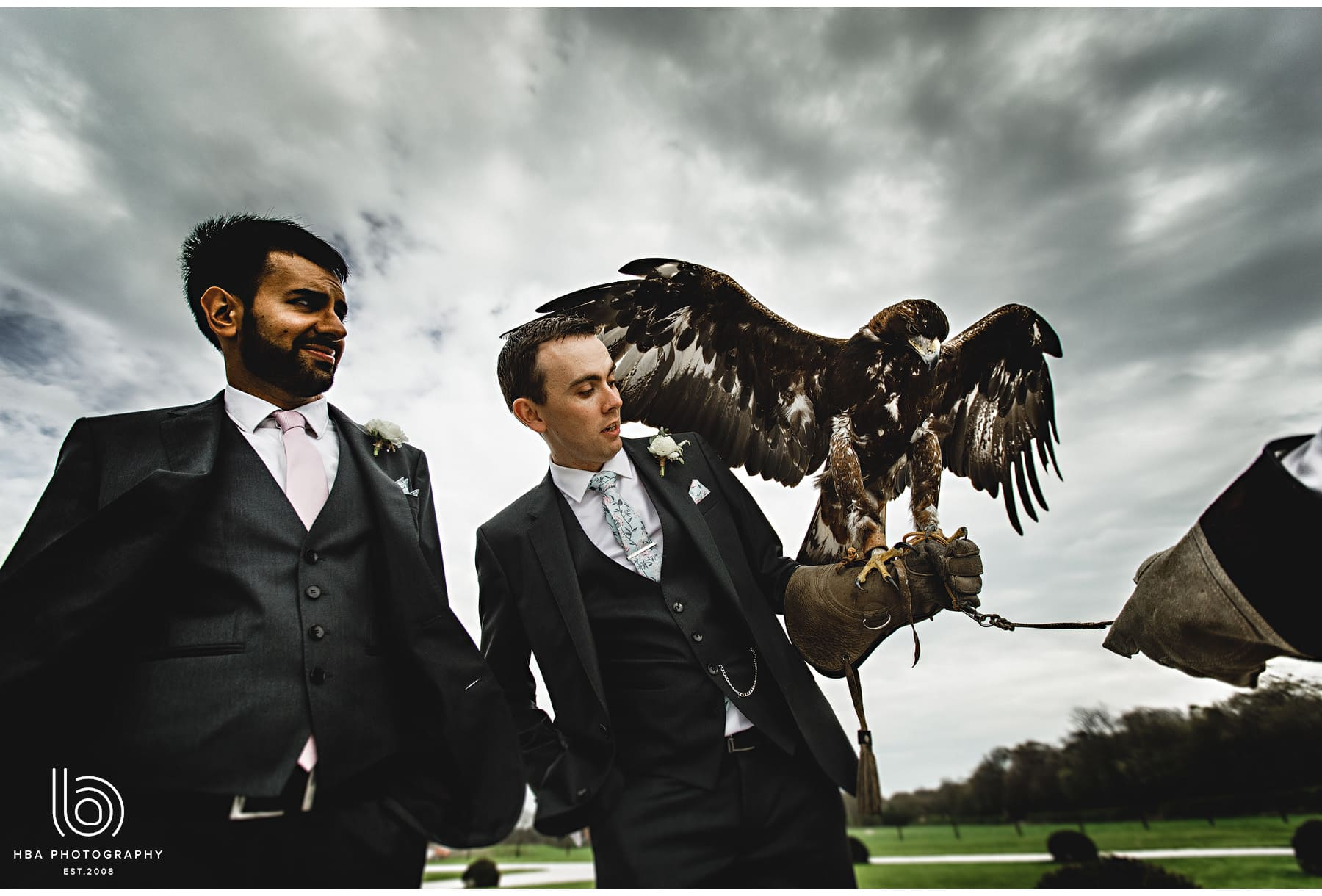 the groom with an eagle