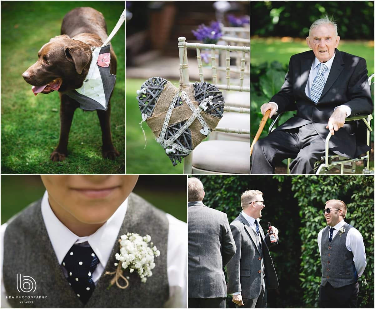a wedding dog and the groomsmen