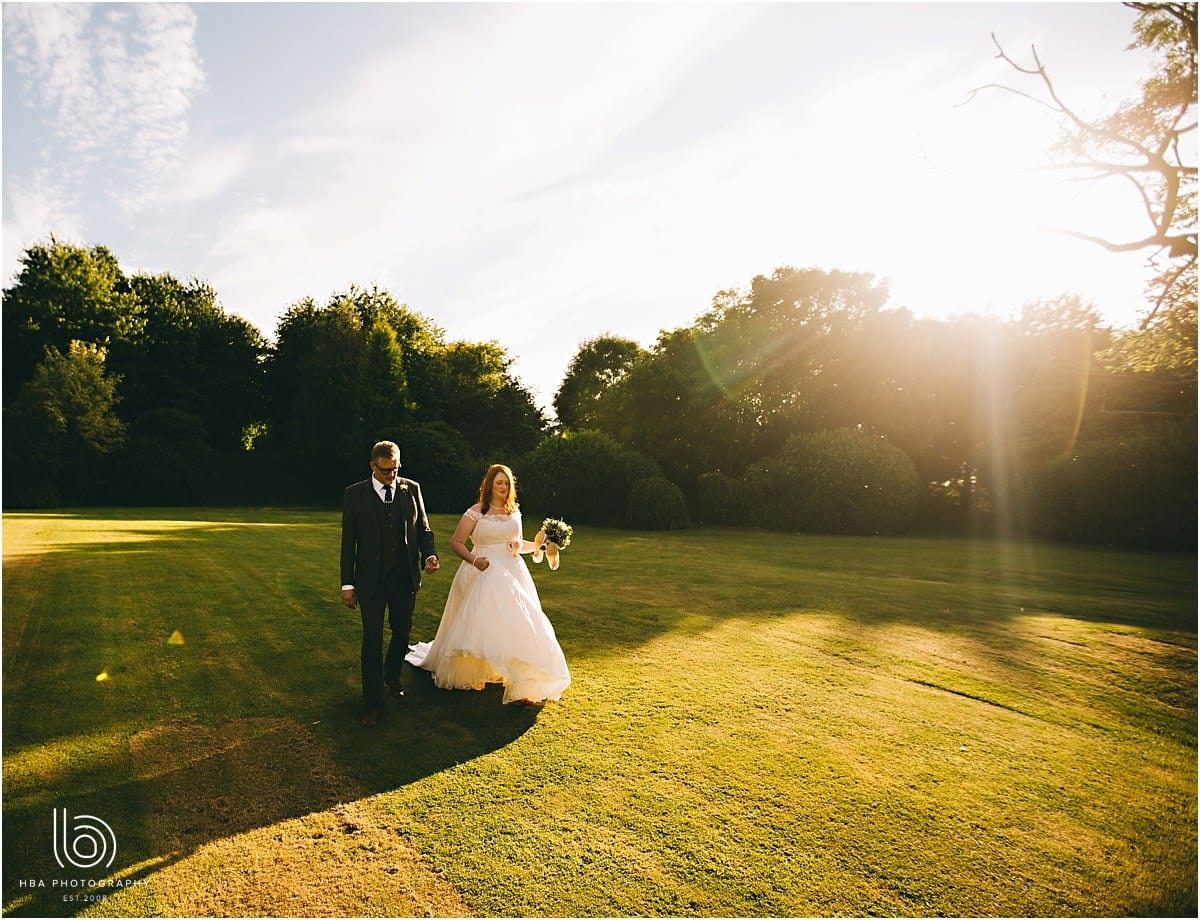 beautiful golden hour sunshine on Jamie and Tina's wedding day