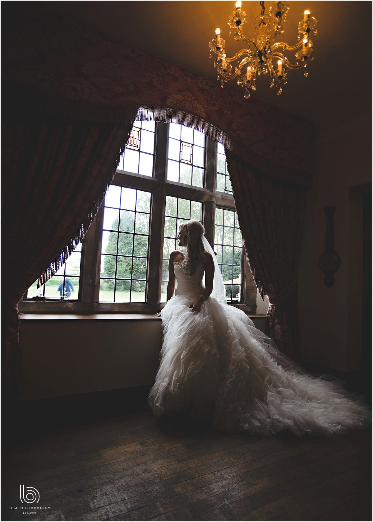the bride looking out of the window