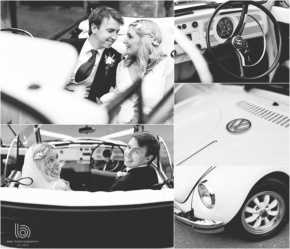 the bride and groom in a VW beetle