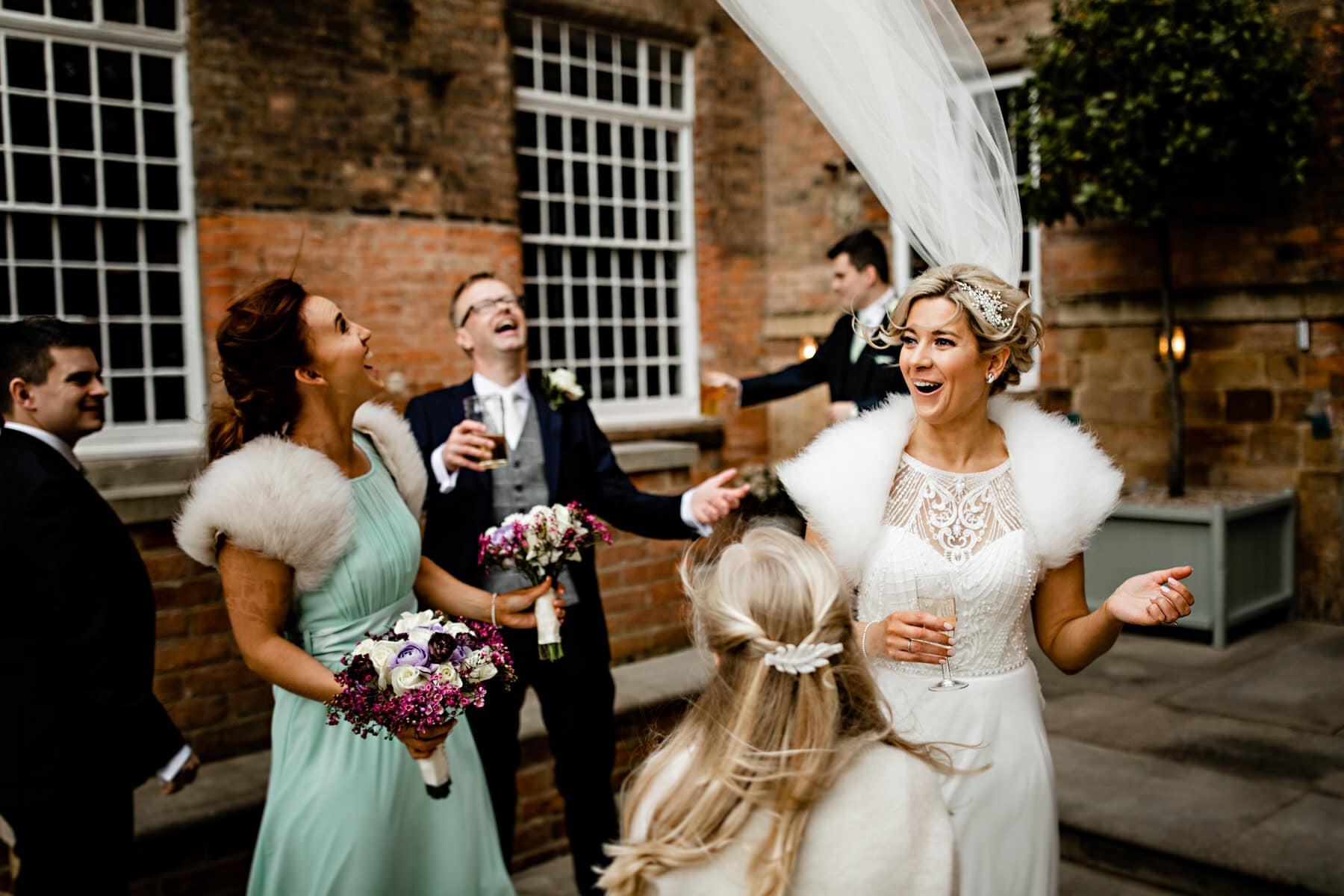 bridal party photos at the west mill derbyshire