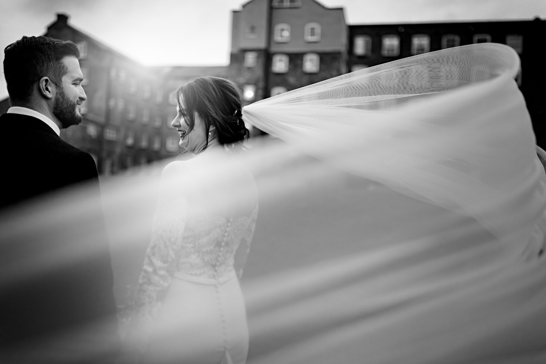 bridal viel blowing in the wind at the west mill in derbyshire