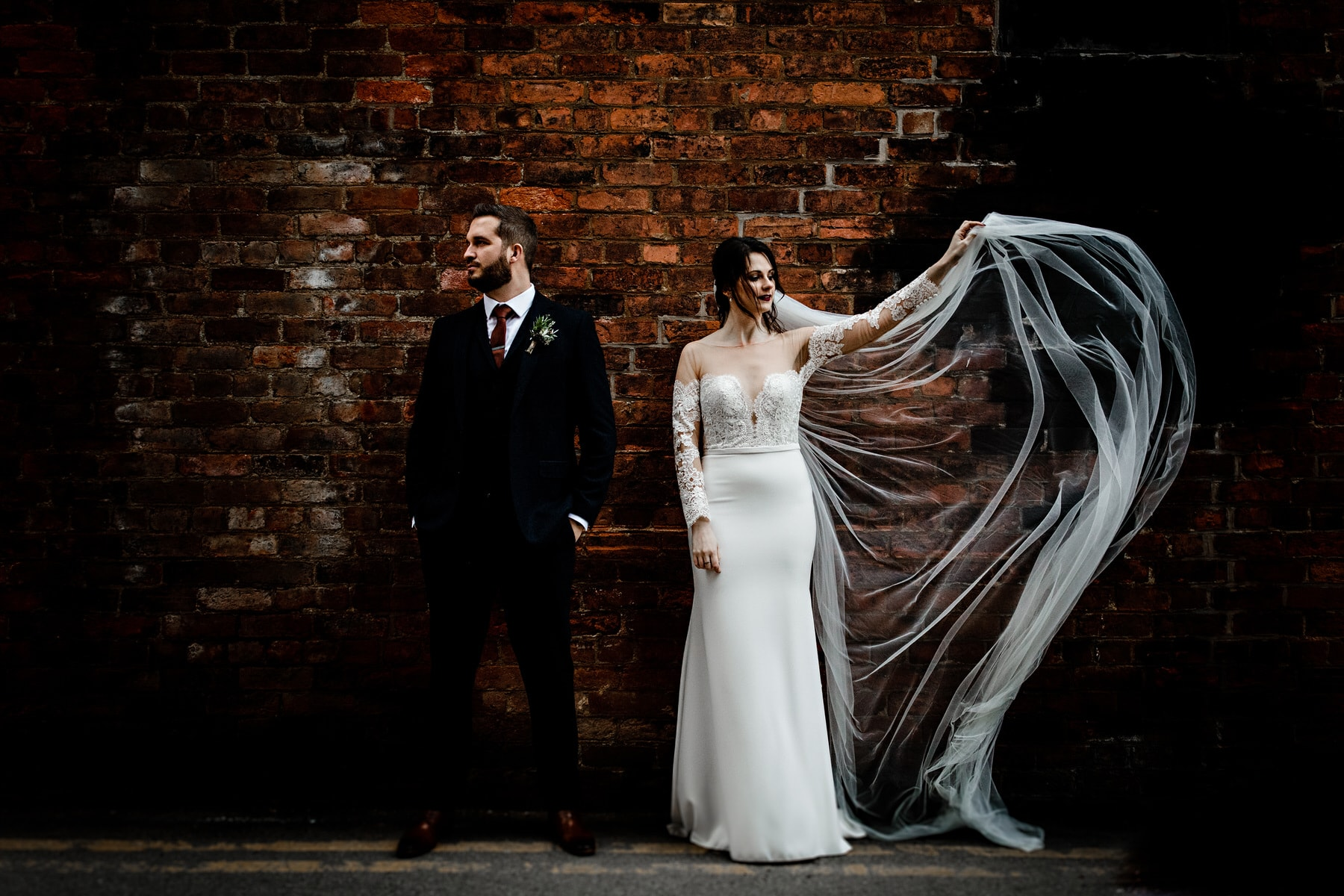 bride and groo portraits on their wedding day