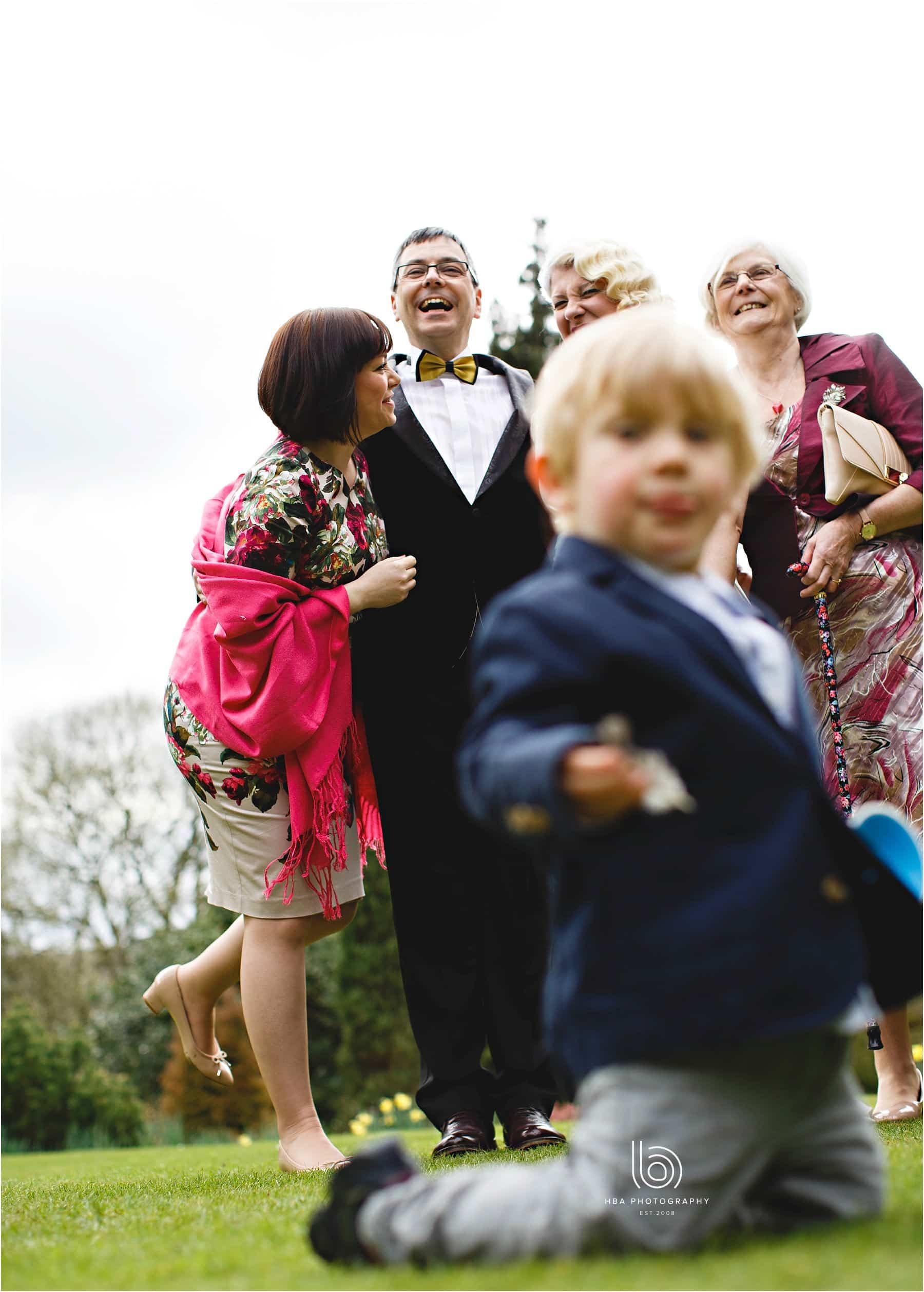 East Lodge wedding - child photo bombing!