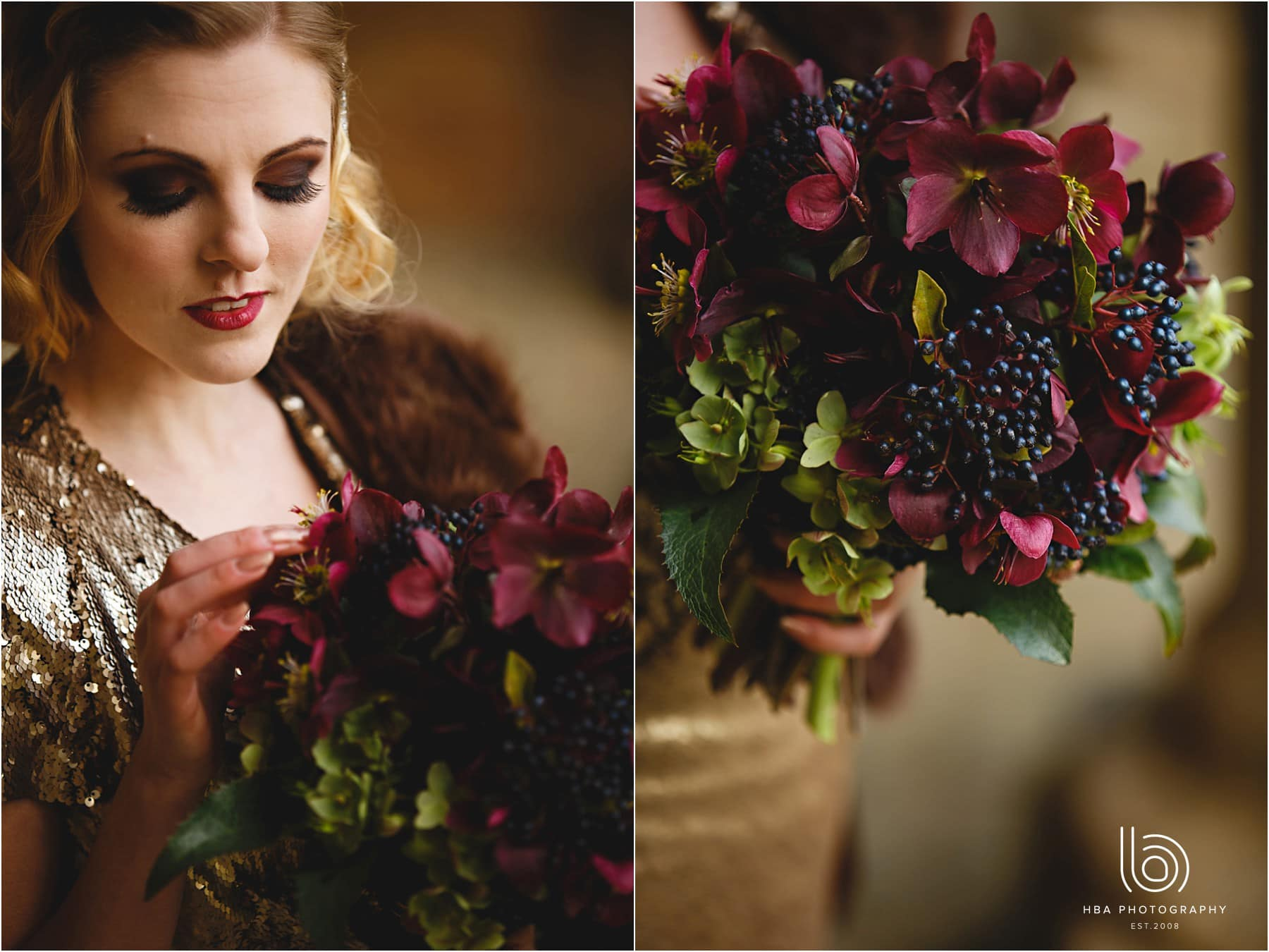 the bride holding her dark red flowers