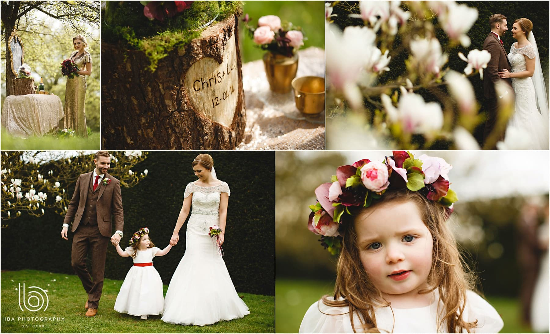 the bride and flowergirl in the gardens at Hardwick Hall