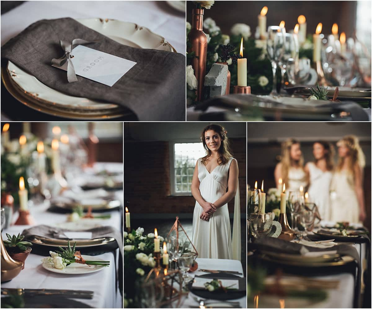 the bride and bridesmaids stood around the dinner table with lots of details