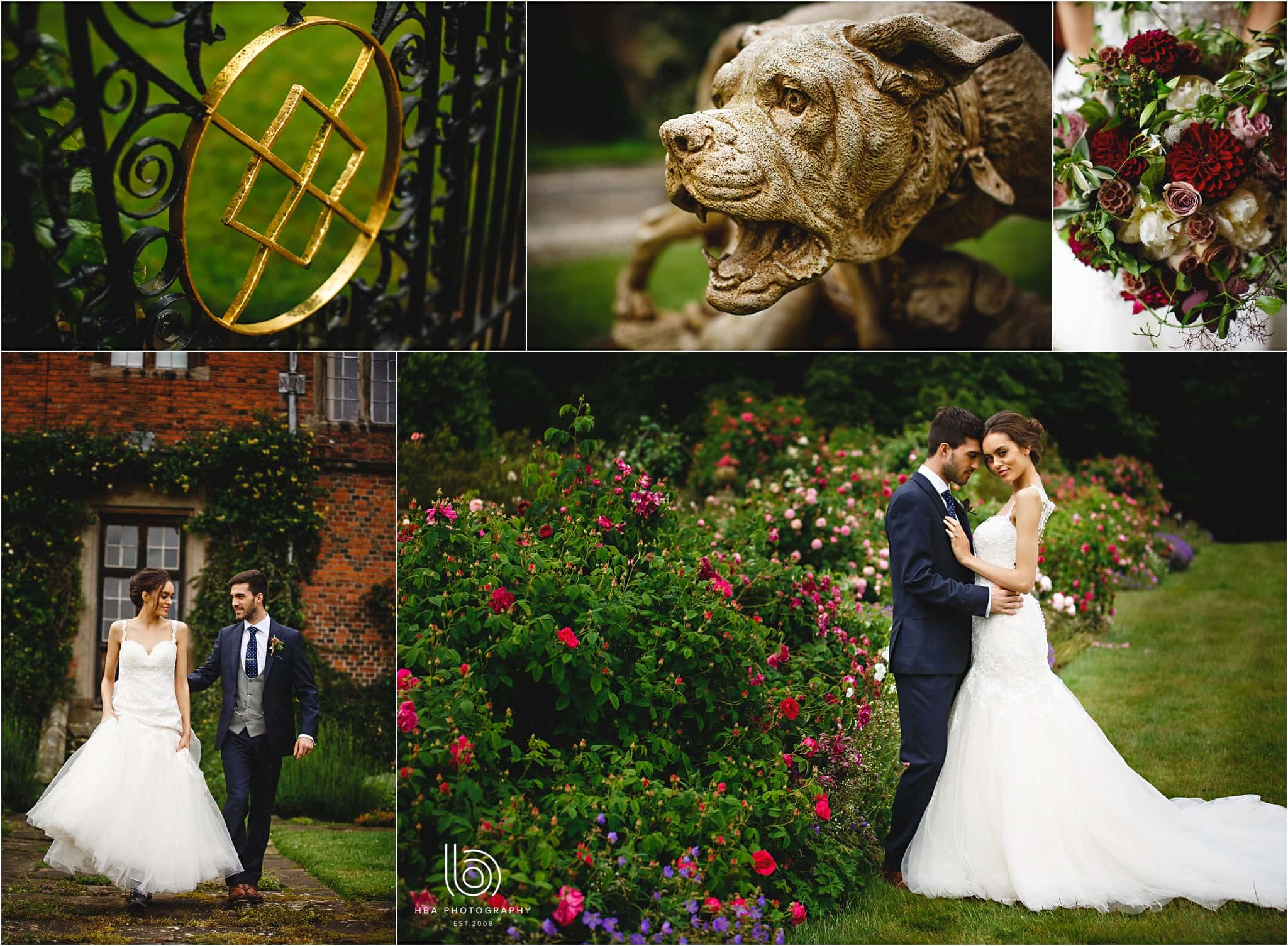 the bride and groom in the gardens at Dorfold Hall