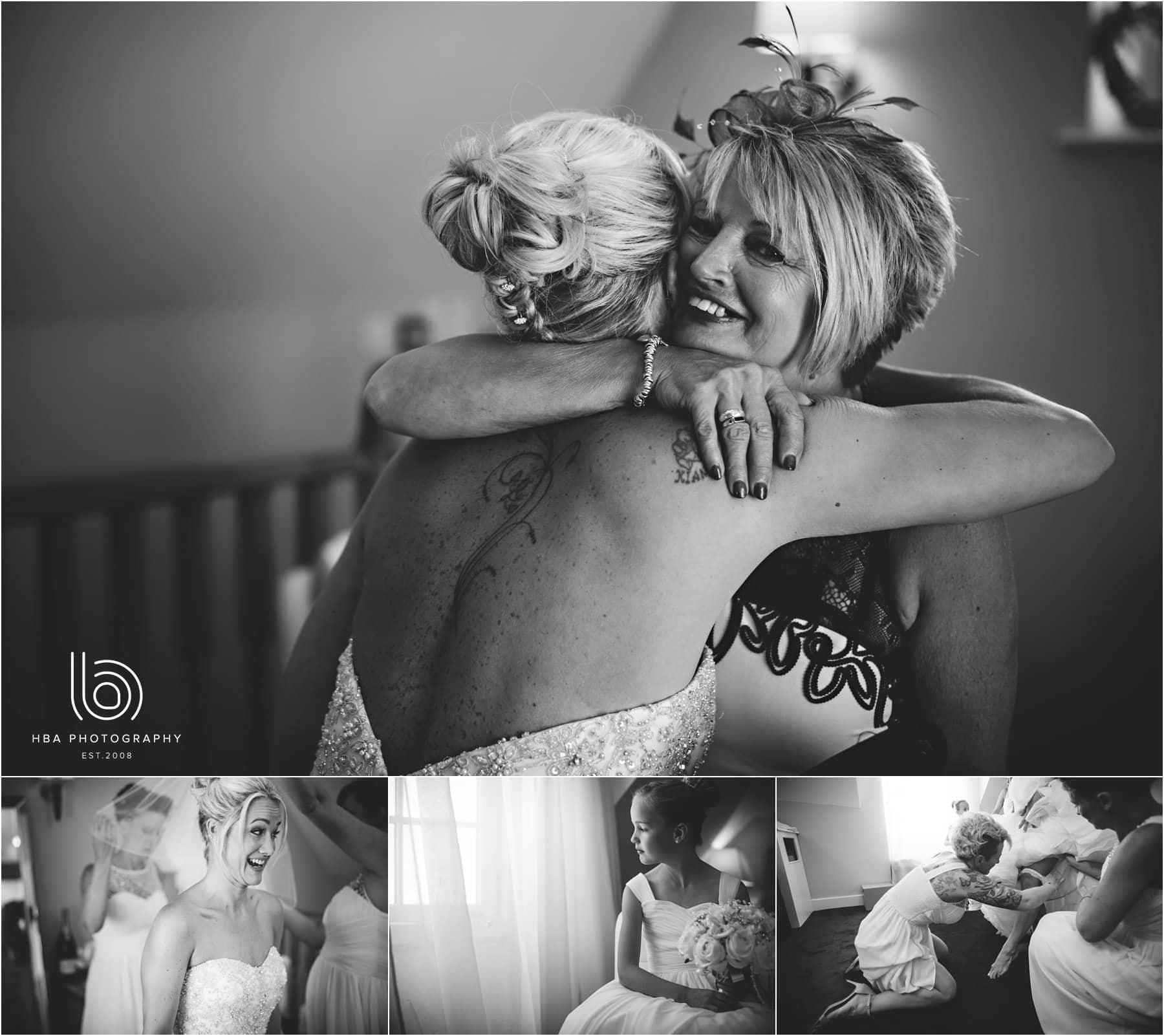 mum hugging the bride