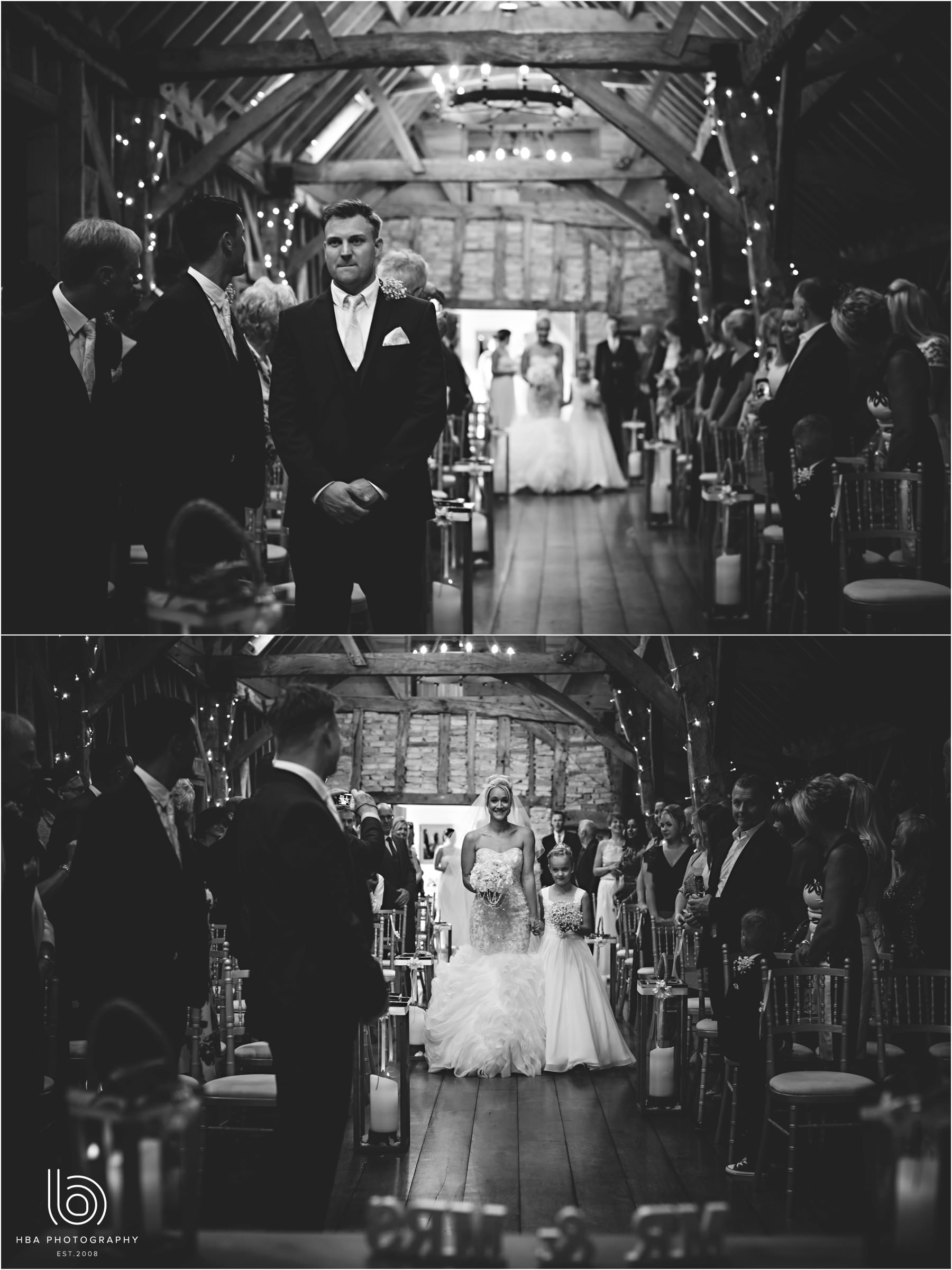 the bride walking down the aisle