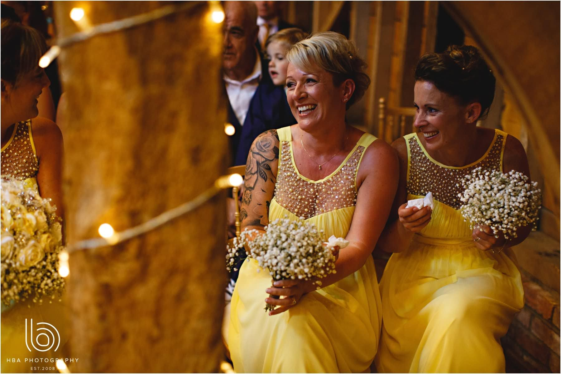 the bridesmaids in tears during the ceremony