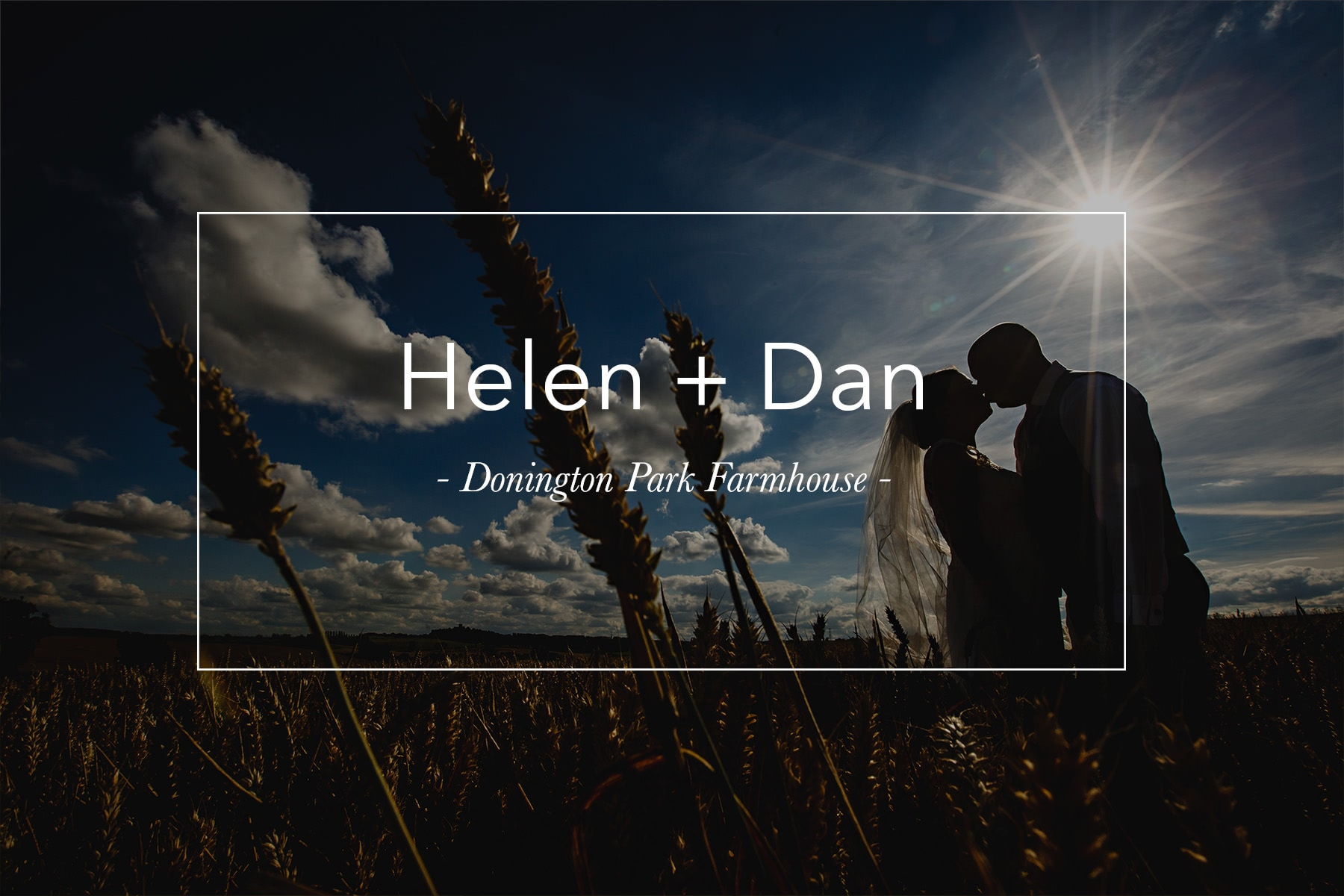 The bride and groom in a corn field on their wedding day at Donington park farmhouse