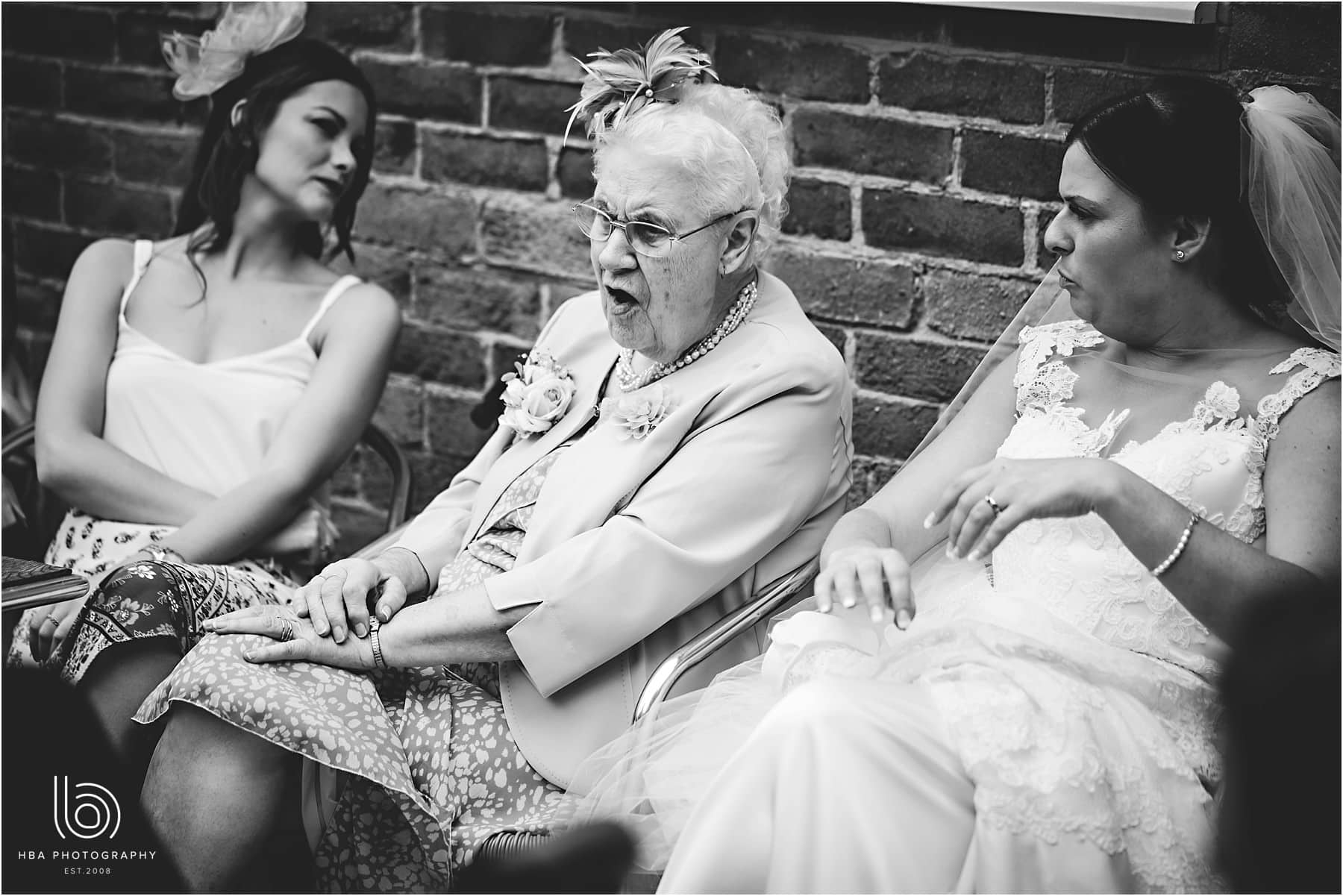 the bride and her grandma laughing
