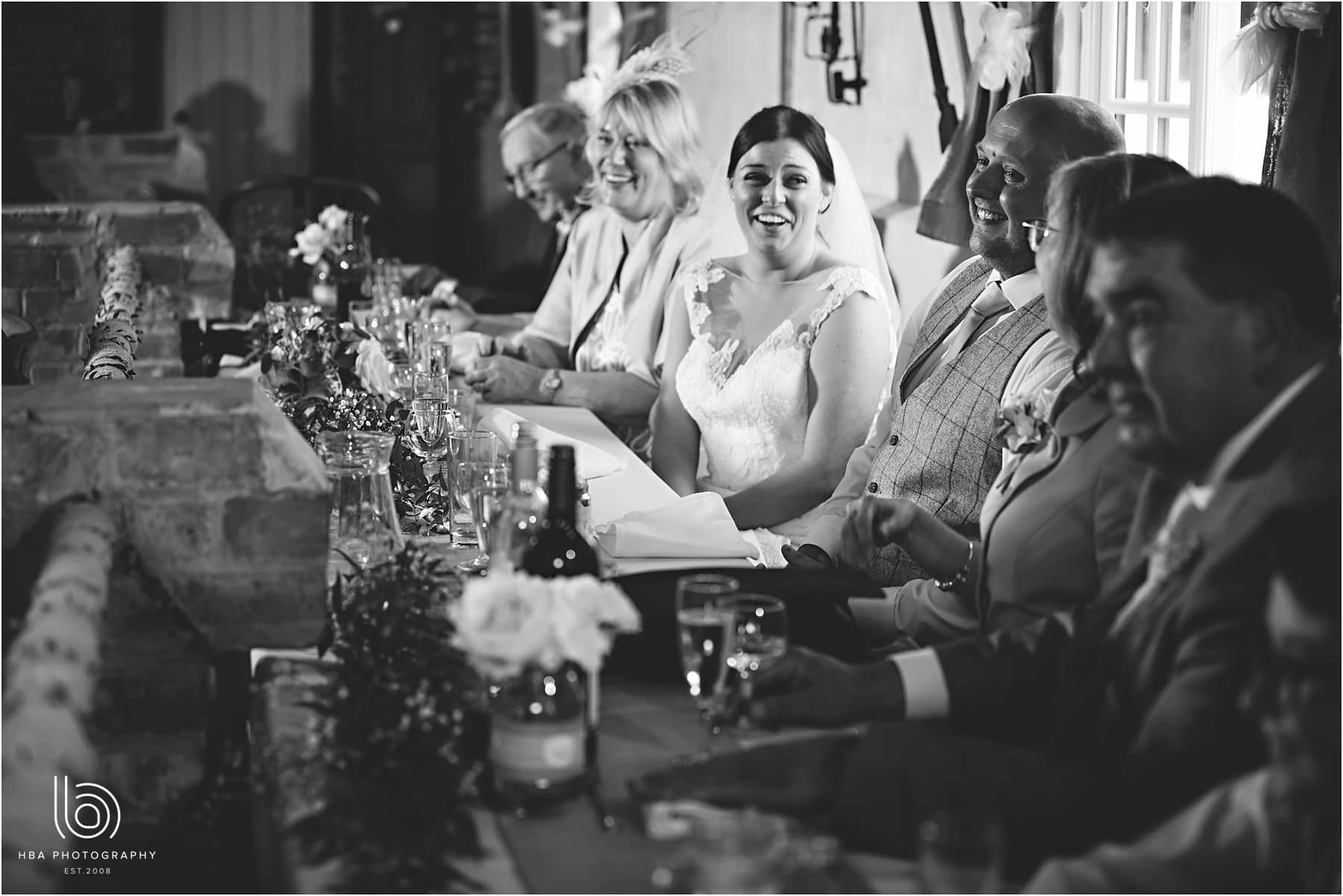 the bride at top table