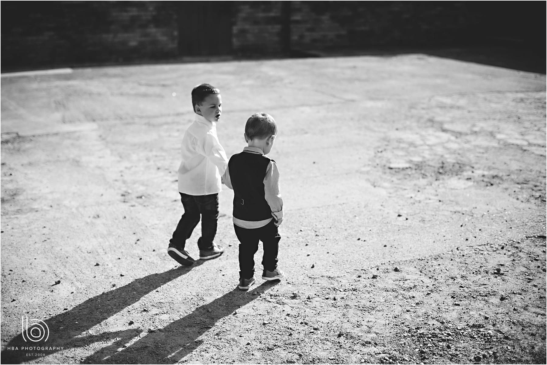 two little kids playing at Park Farmhouse