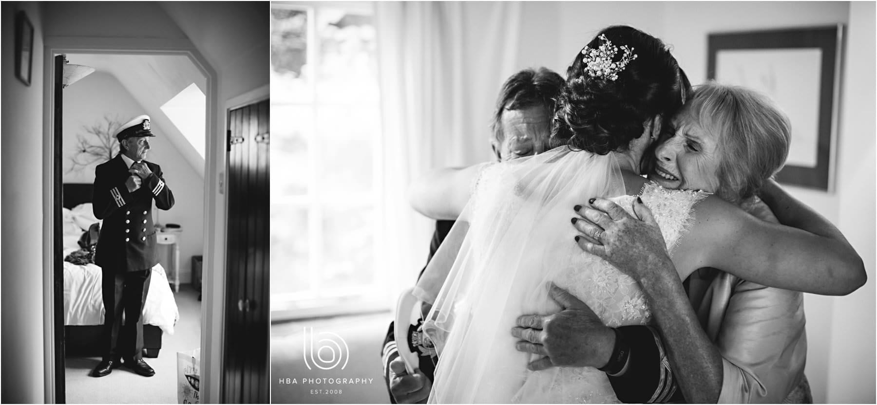 the bride hugging her parents