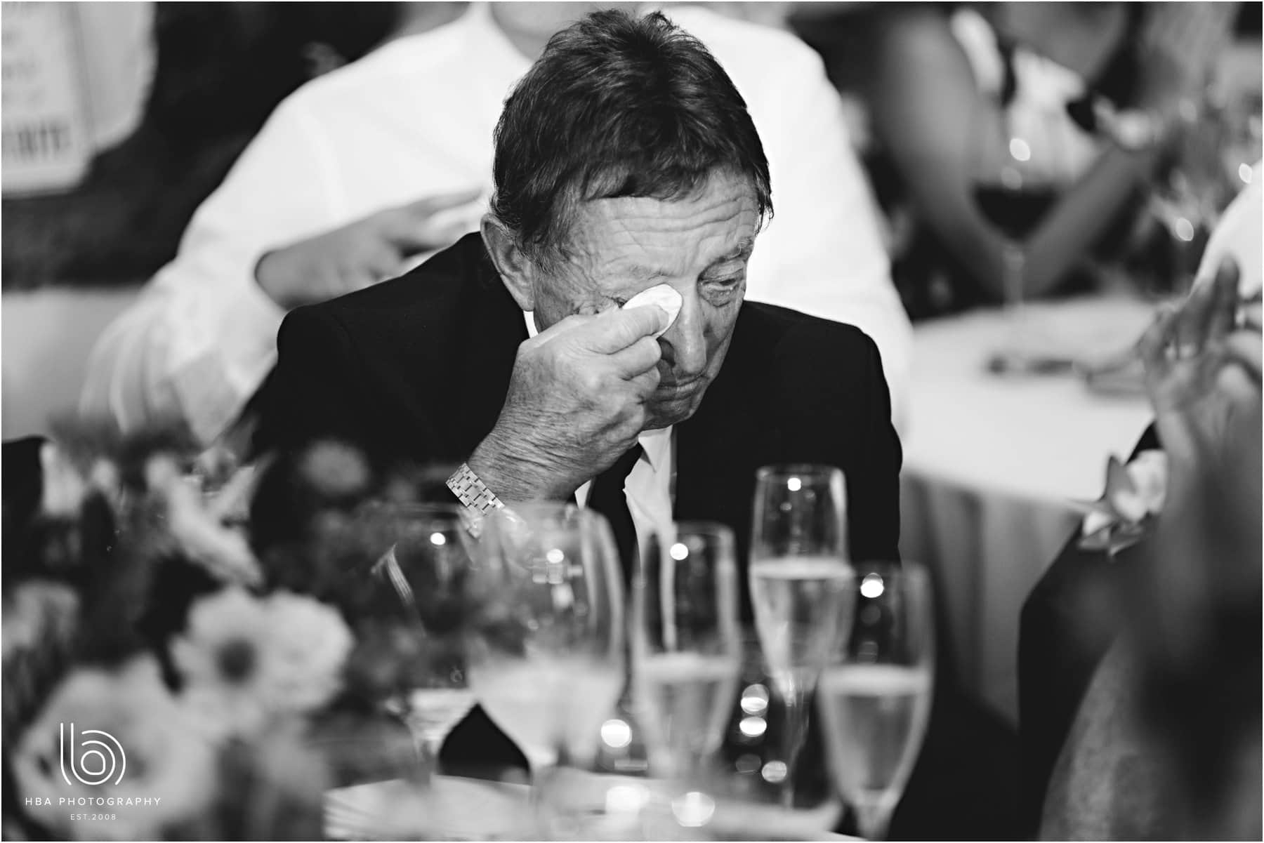 the bride's dad crying during the speeches