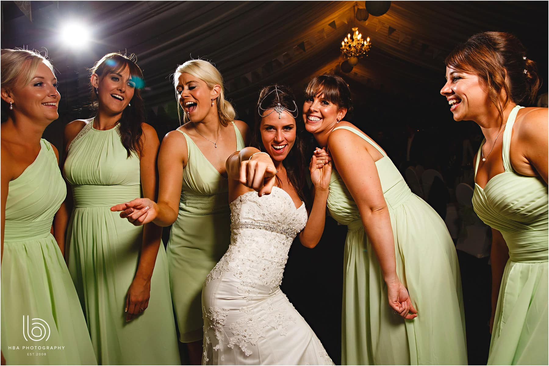 the bride and girls on the dancefloor
