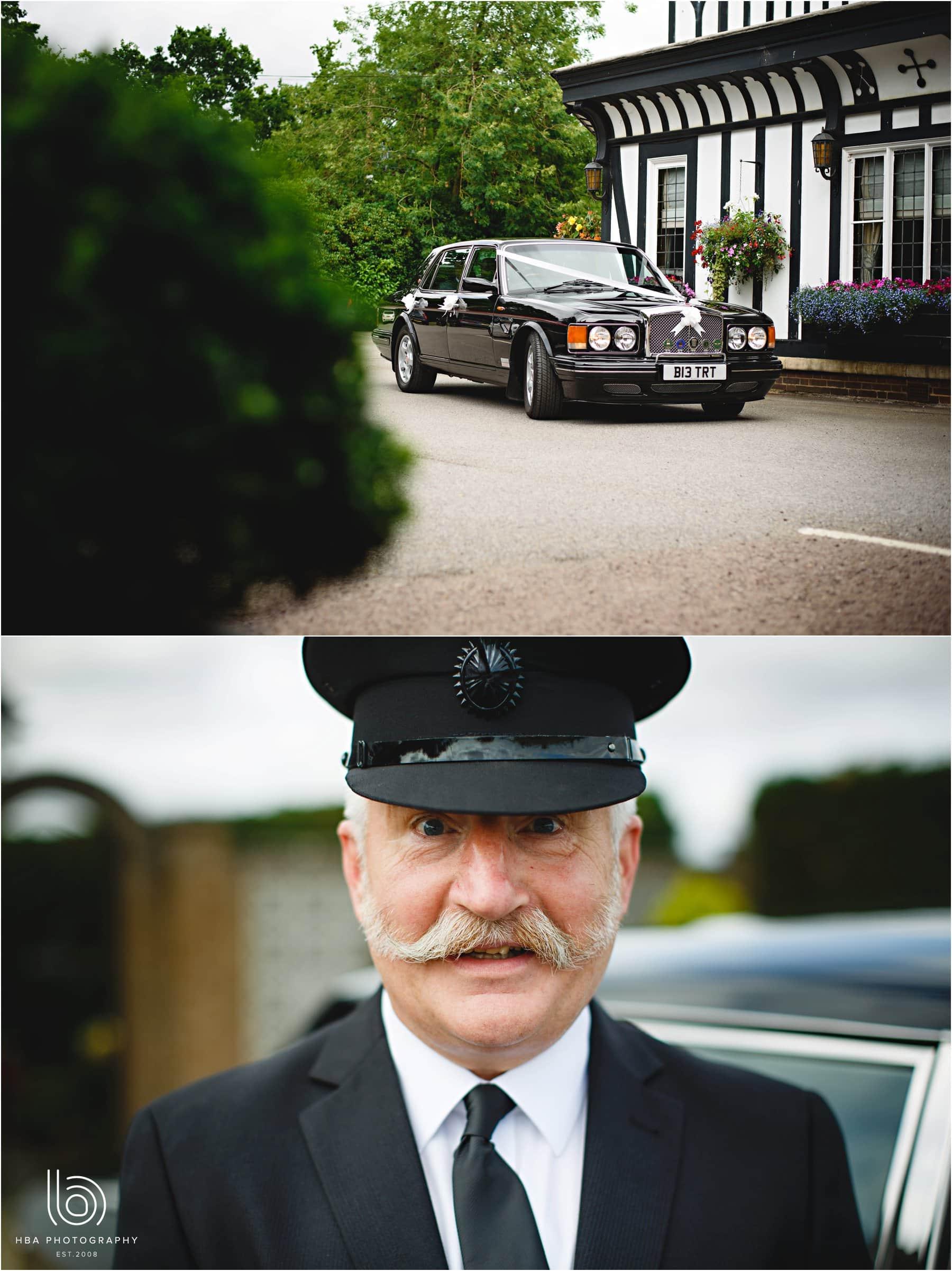 the wedding car and chauffeur