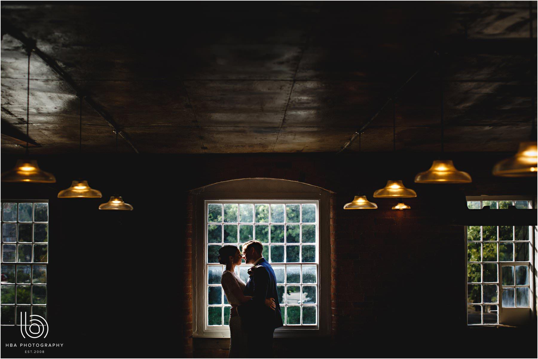 the bride & groom inside
