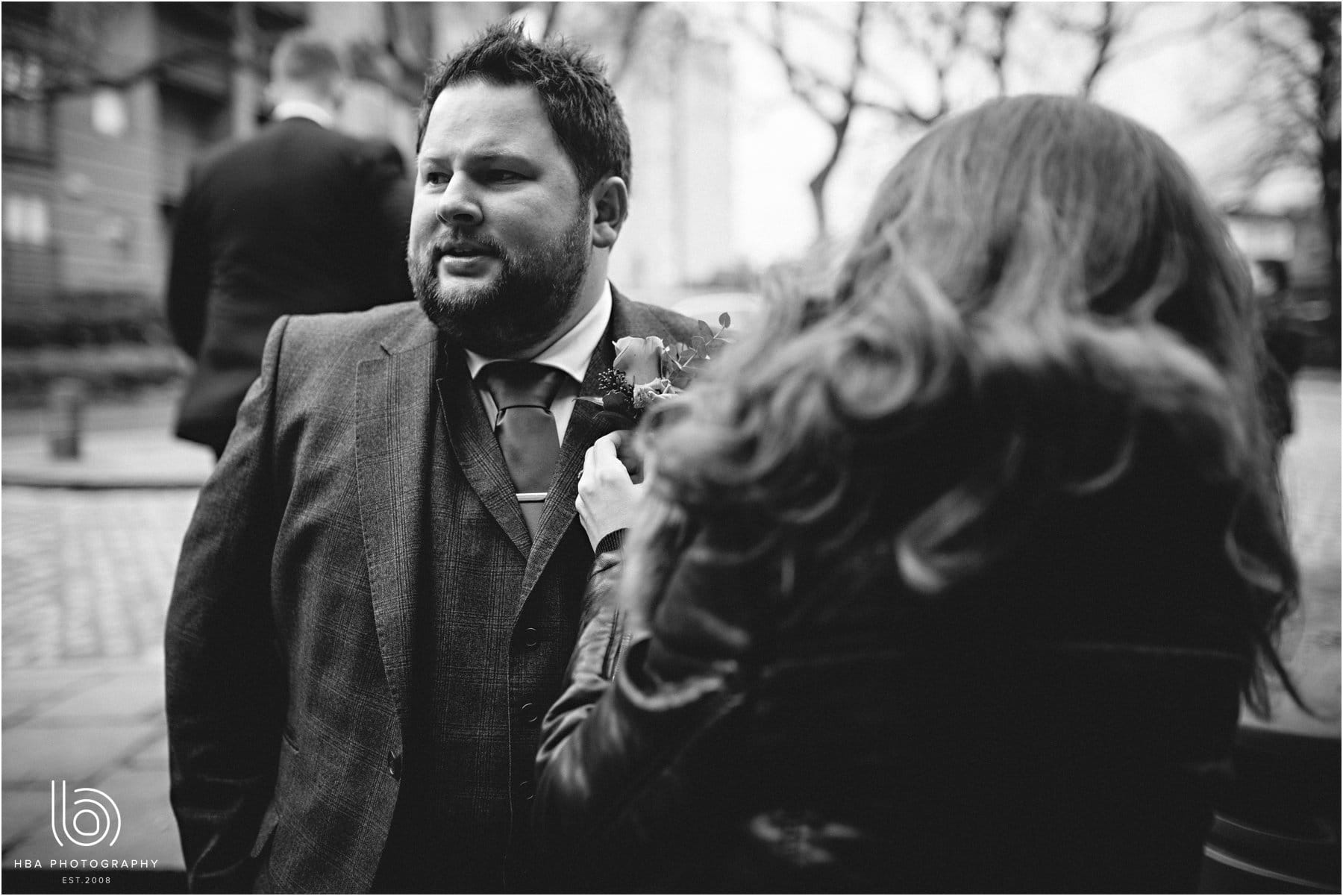 the groom outside