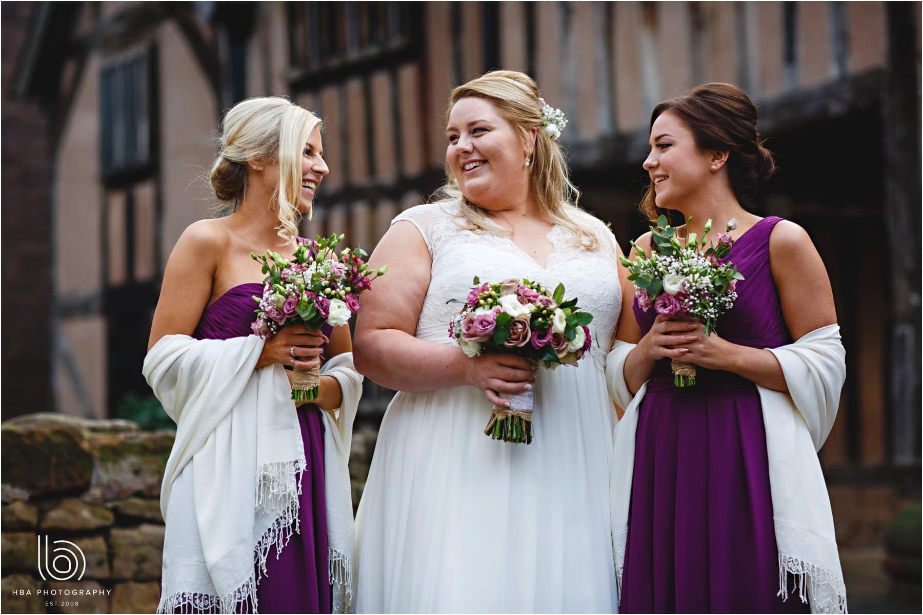 the bride with ther bridesmaids