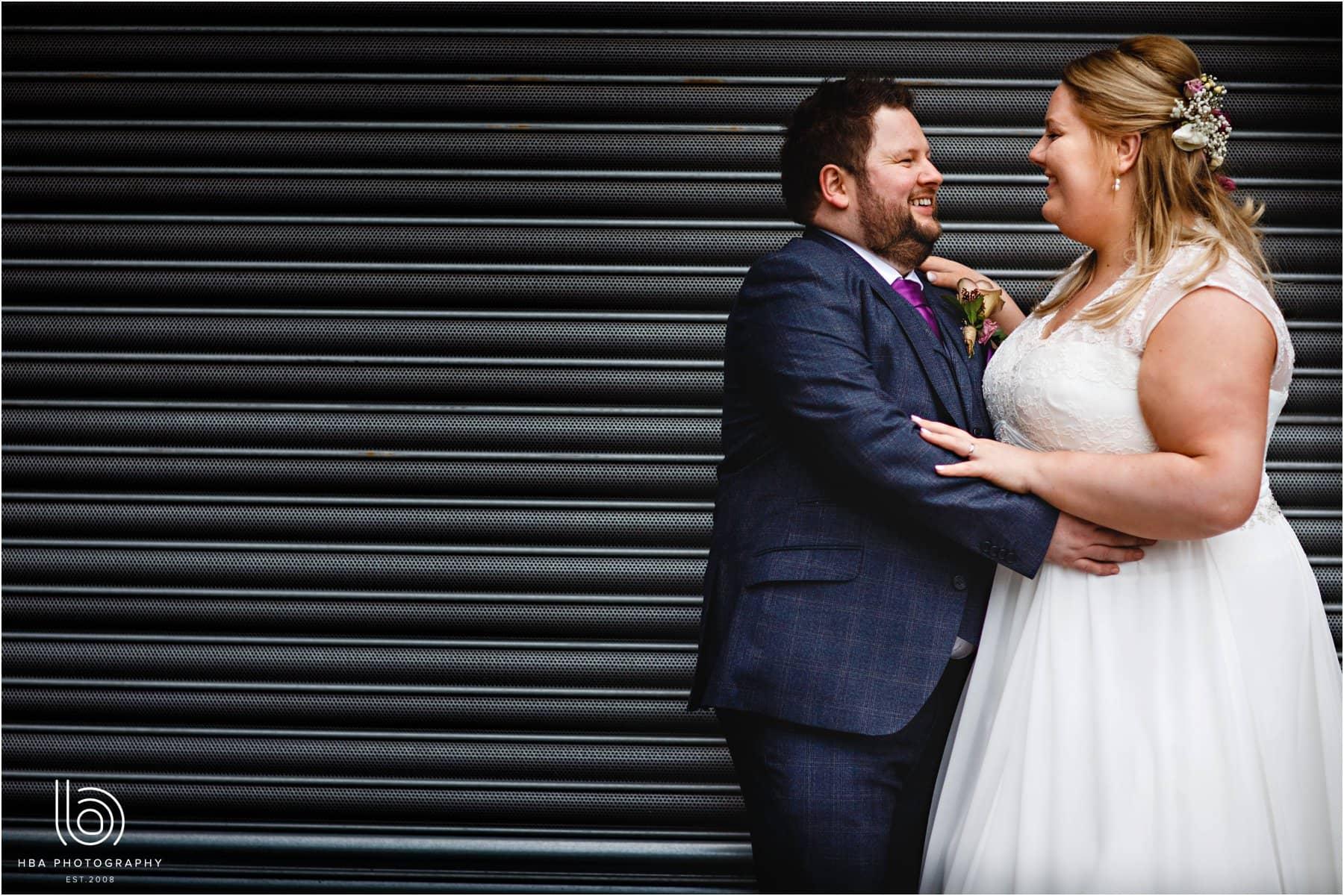 The bride & groom in city centre
