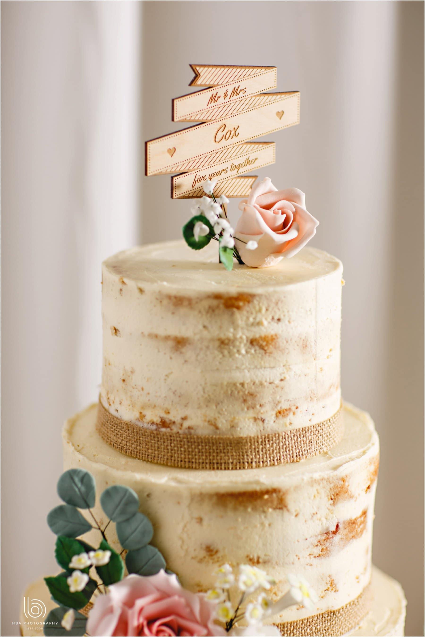 the semi naked wedding cake