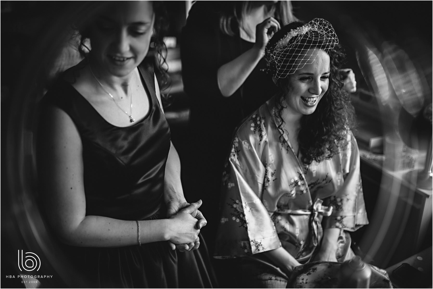 the bride having her hair done