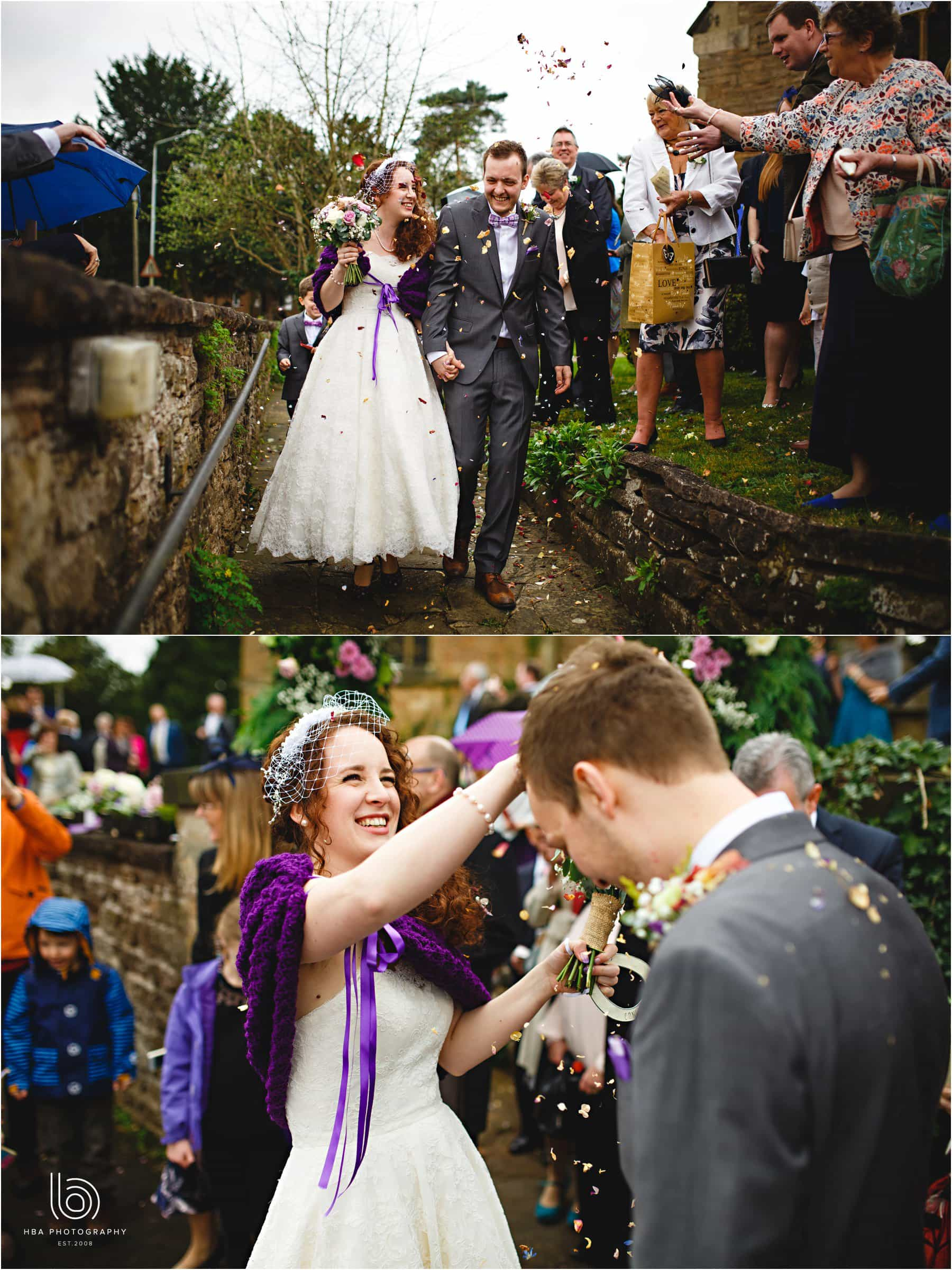 the bride and groom getting covered in confetti