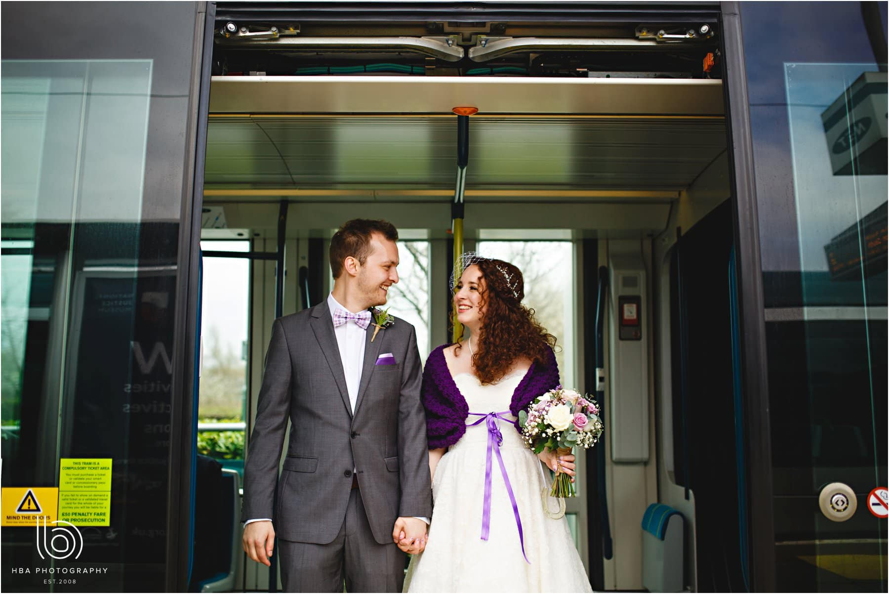 the bride and groom on the tram