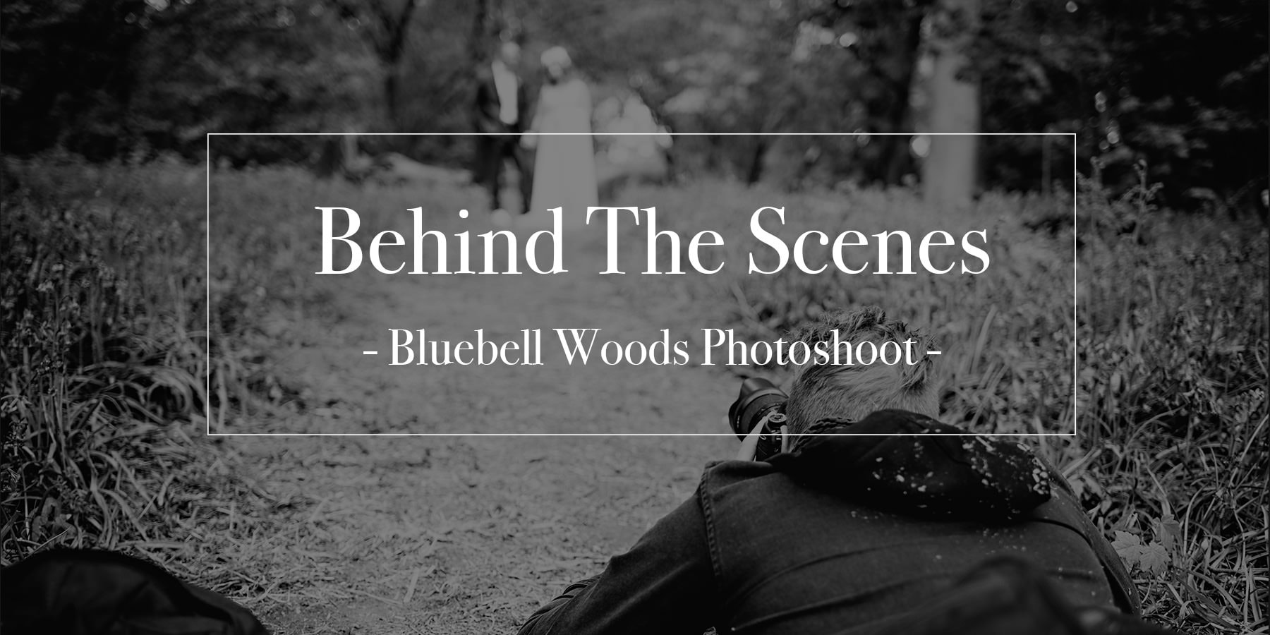 Behind the scenens on a woodland wedding photoshoot