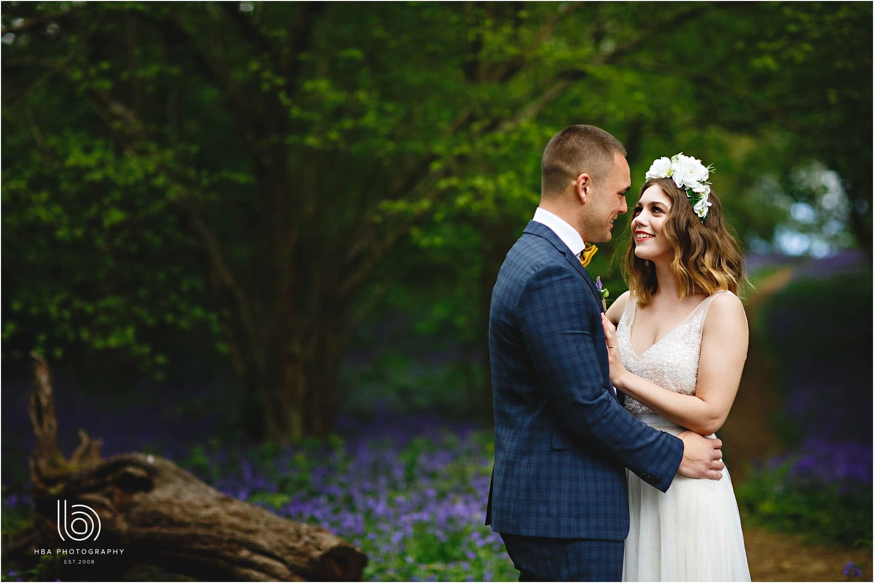 the brid eand groom together in the woods